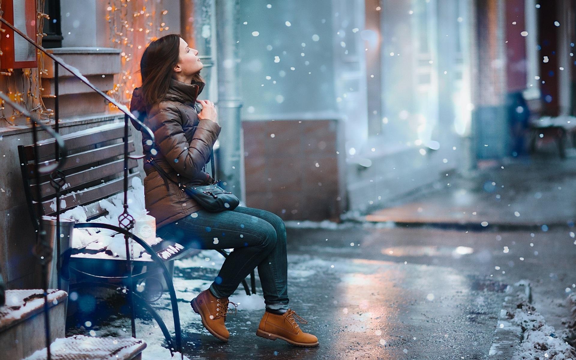 Картинка девушка вечер зима