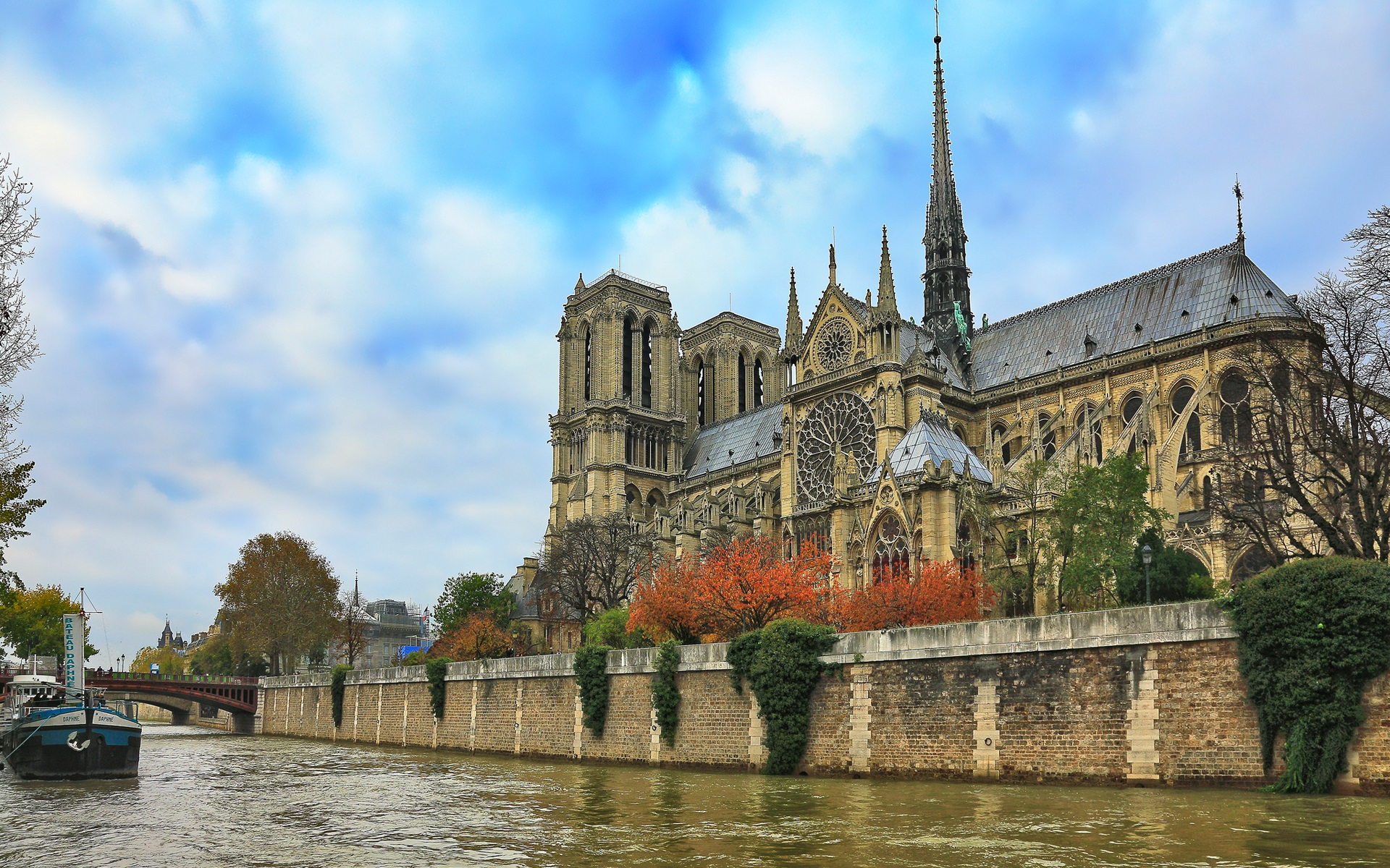 Wallpaper Notre Dame Cathedral River Blue Sky Trees France