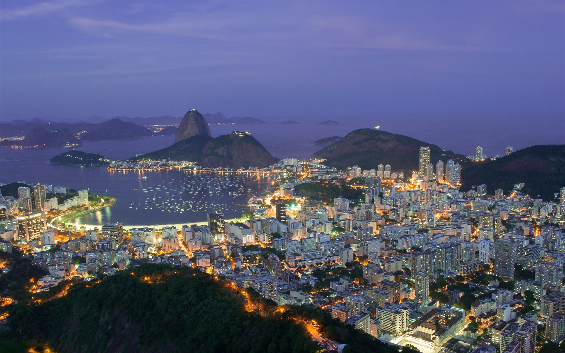 Wallpaper Travel To Brazil Rio De Janeiro City Evening Lights