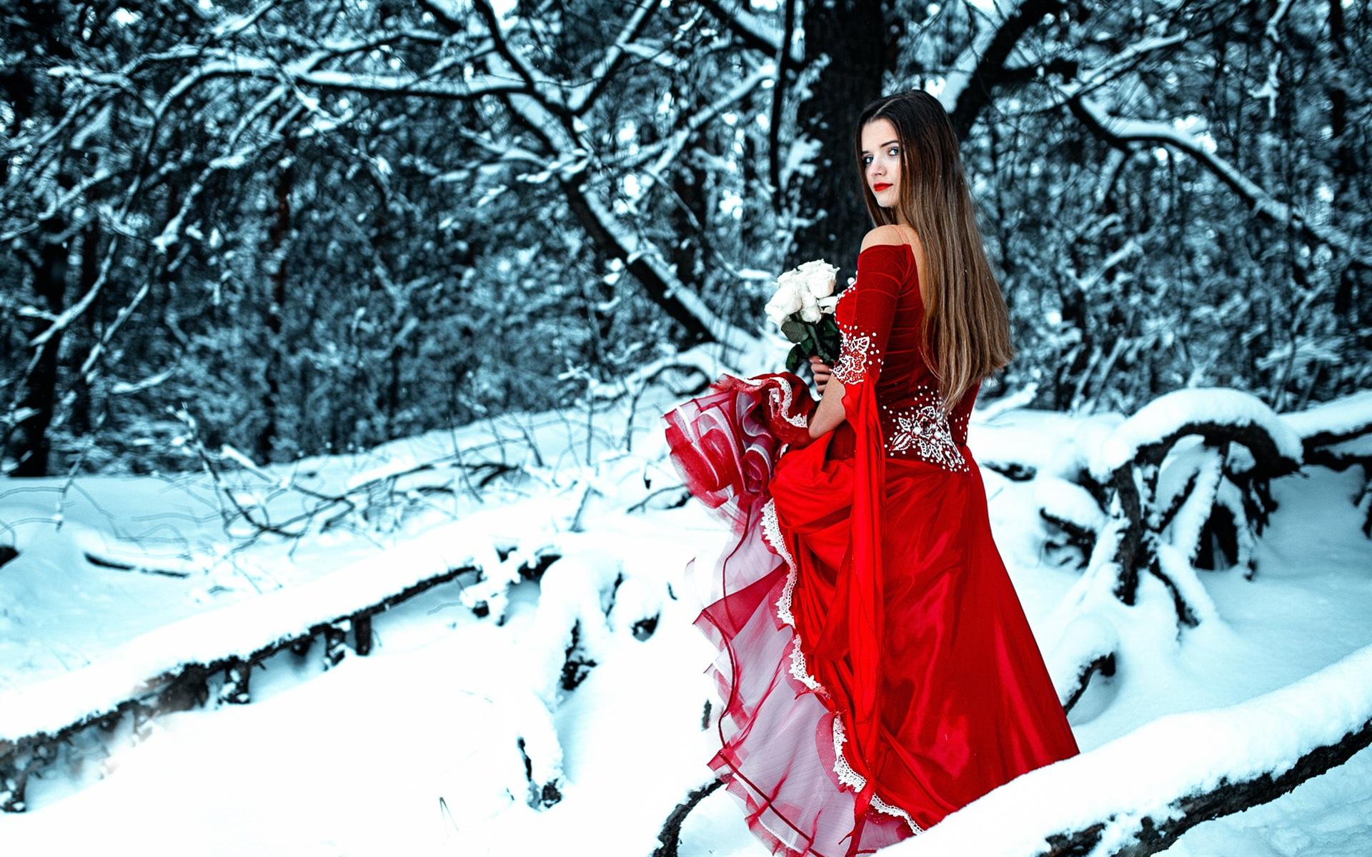 Wallpaper red dress girl in winter look back rose snow - Rose in snow wallpaper ...