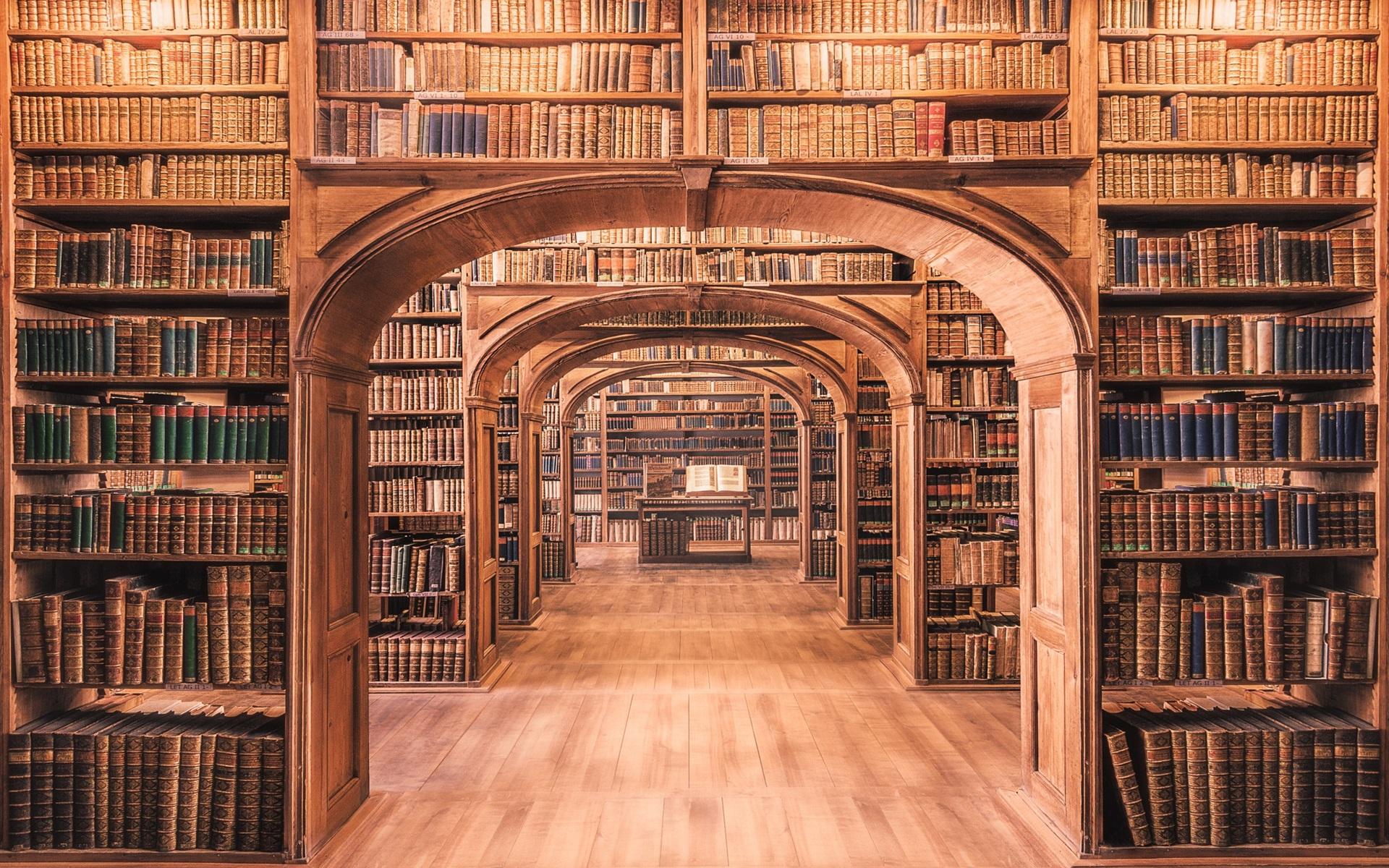 壁紙 多くの本を図書館 19x10 Hd 無料のデスクトップの背景 画像