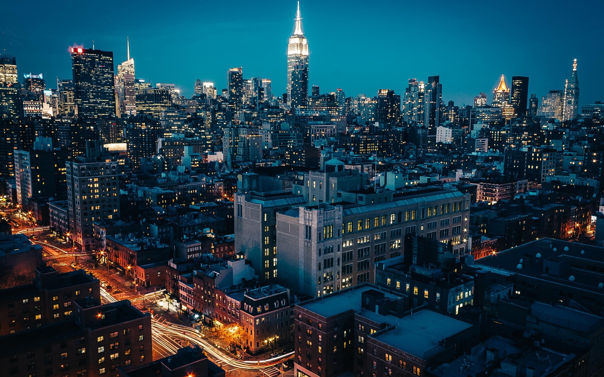 Wallpaper New York City Night Skyscrapers Lights Road 1920x1200 Hd Picture Image