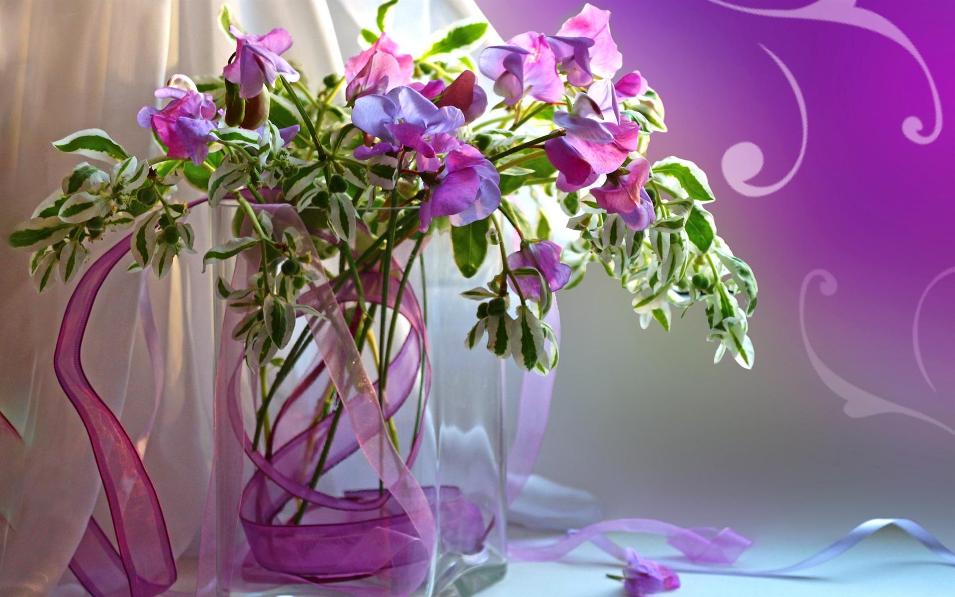 Wallpaper Still Life Vase Purple Flowers Petals 1920x1200 Hd