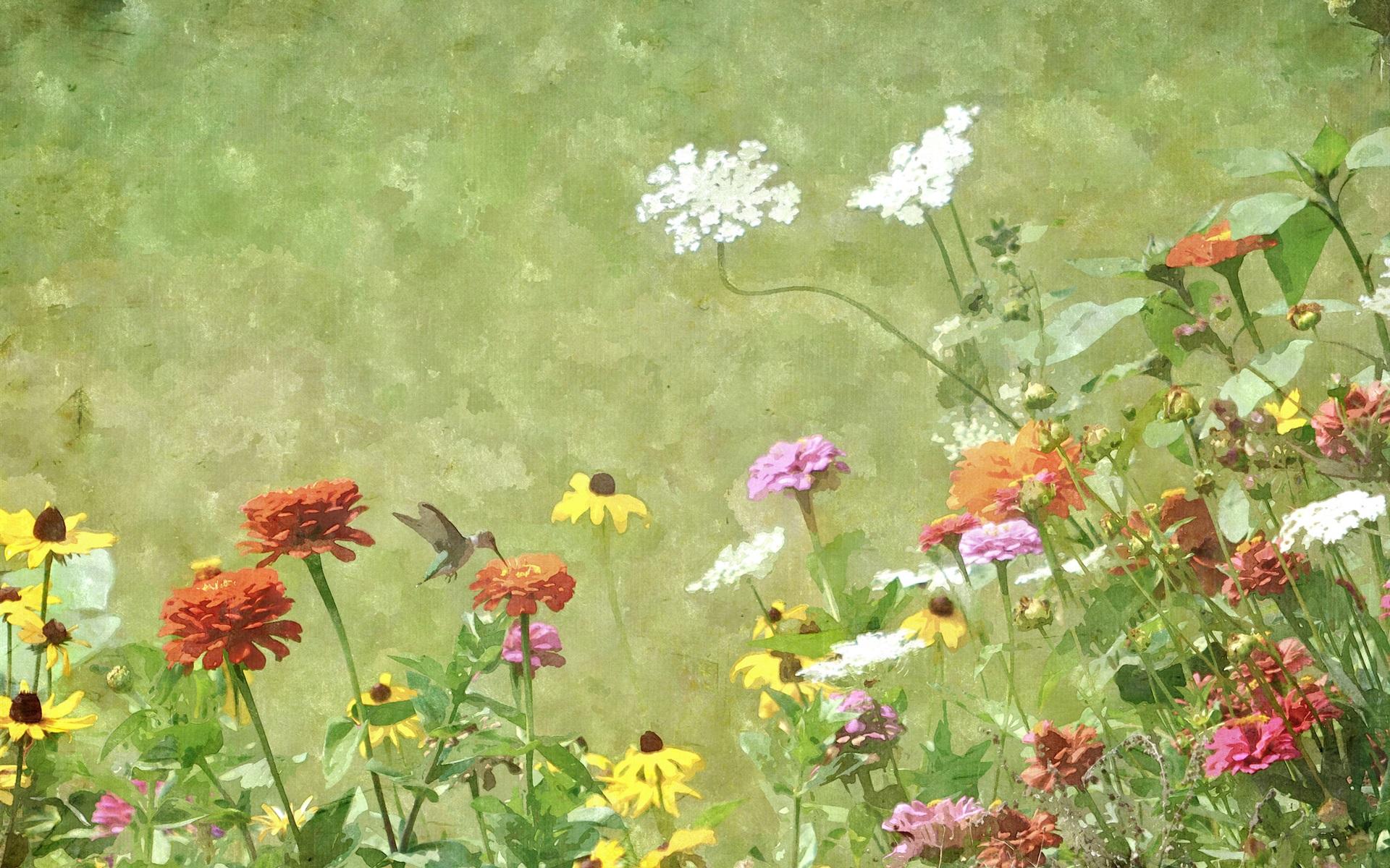 Wallpaper Watercolor Painting Flowers Hummingbird Spring