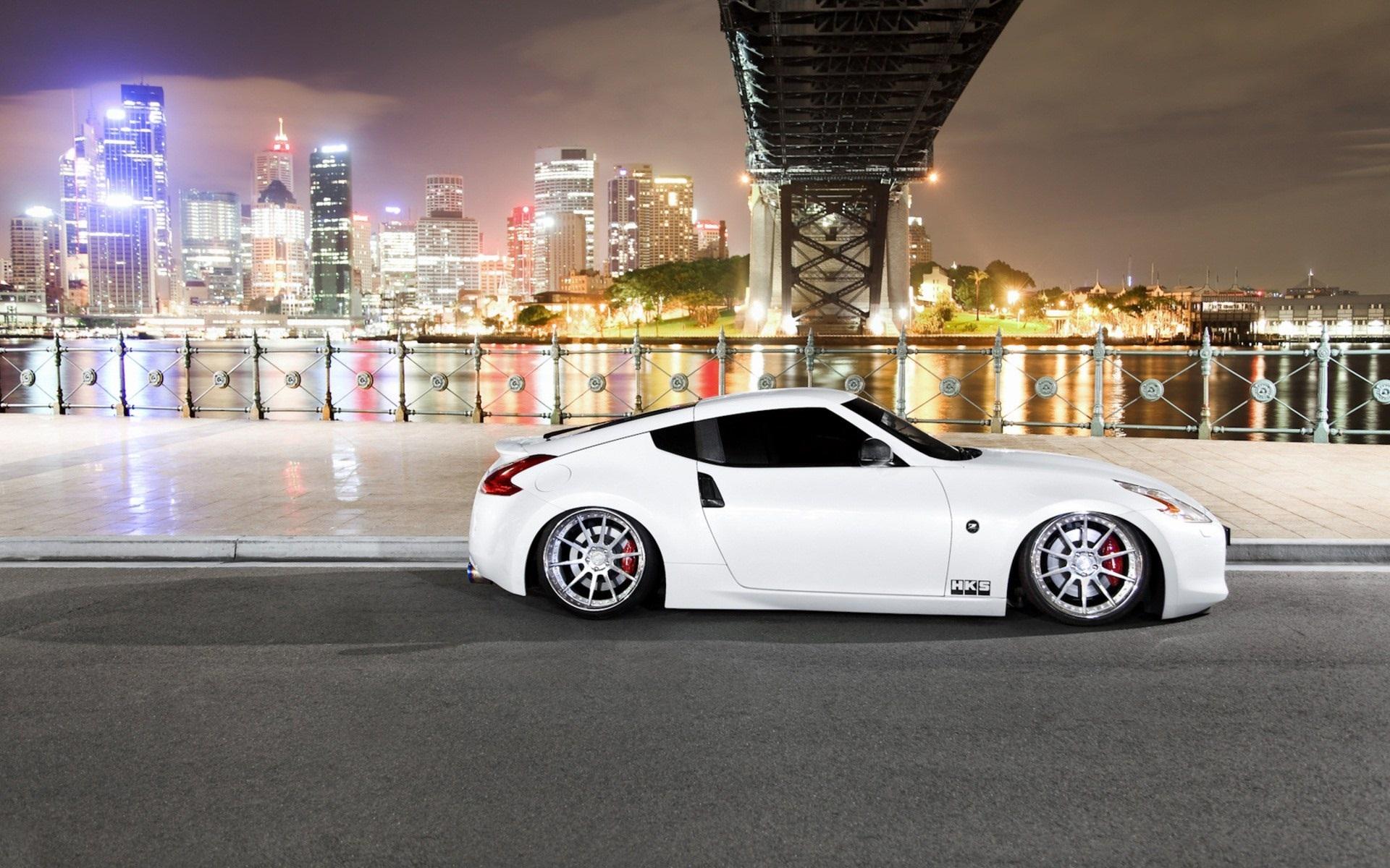 Wallpaper Nissan 370z White Car Night City 1920x1200 Hd