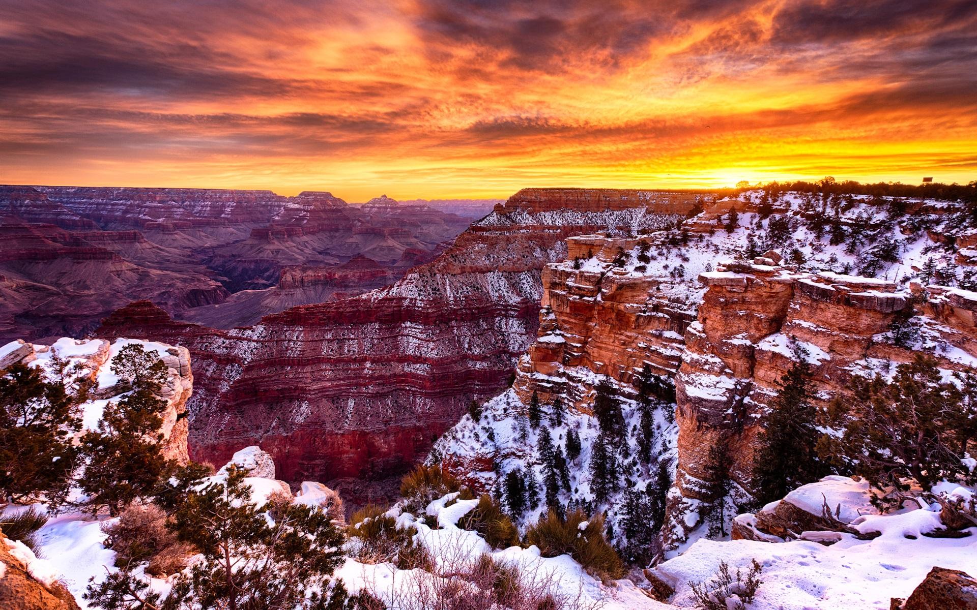 Fonds D Ecran Amerique Grand Canyon Beau Paysage Hiver