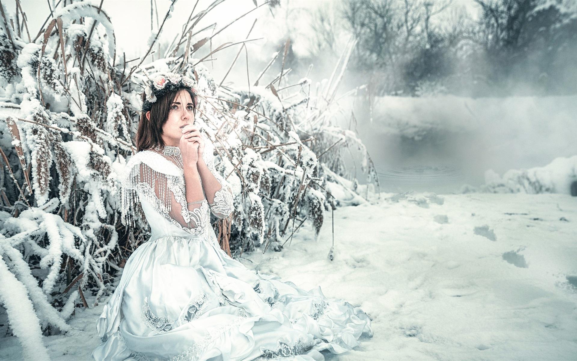 pretty nice 7a355 04e83 Weißes Kleid Mädchen im Winter, Schnee, kalt 1920x1200 HD ...