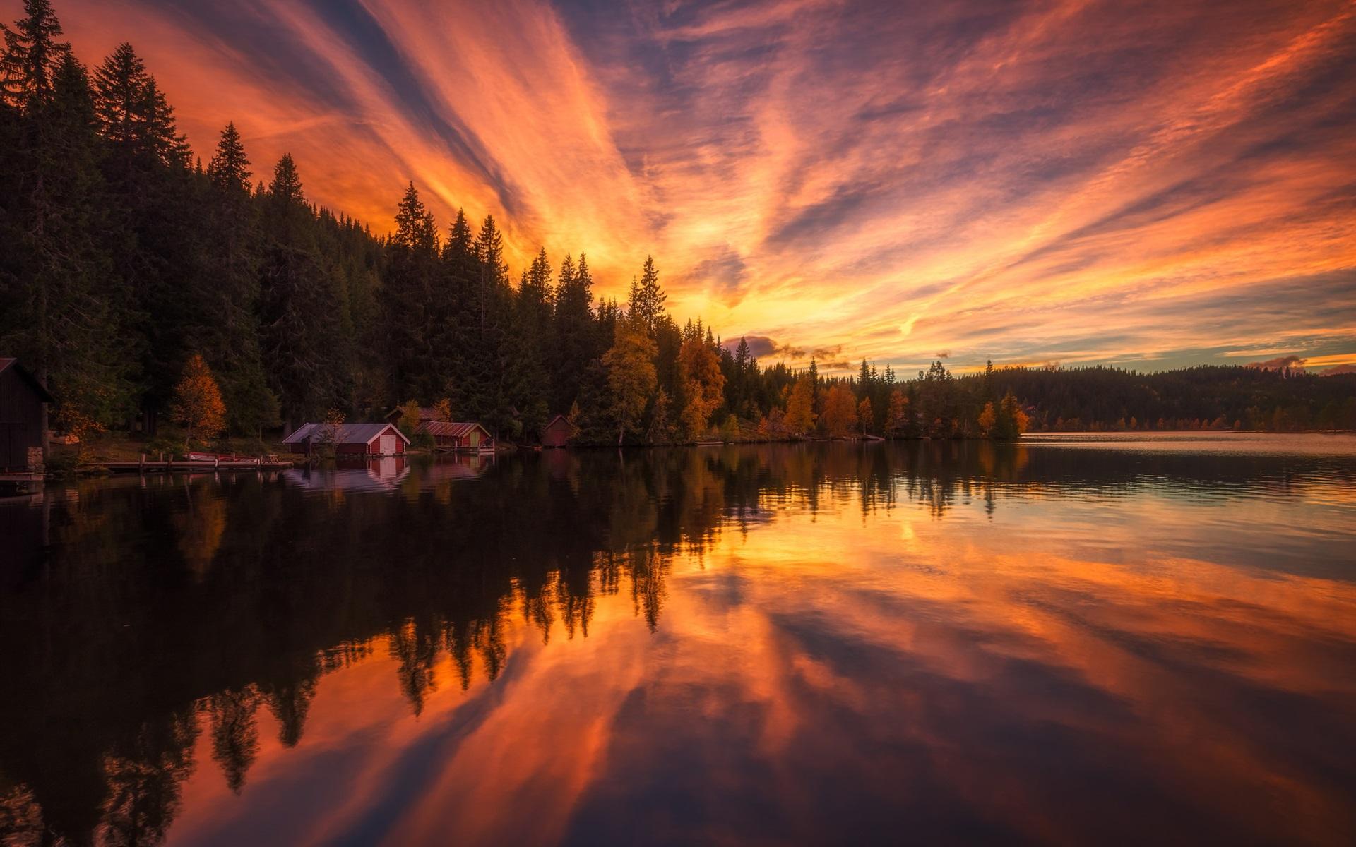 Картинки озеро в лесу на закате