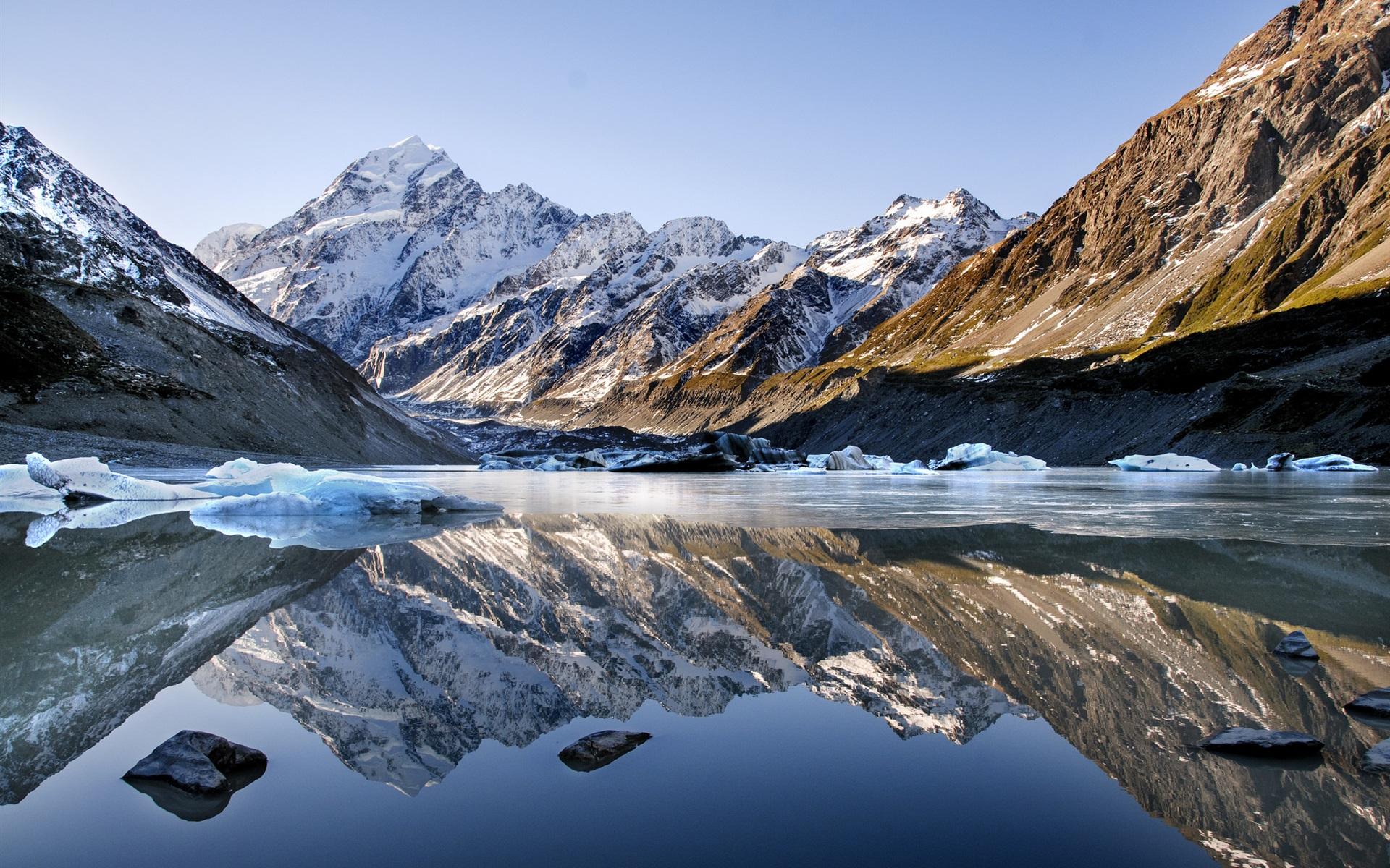 Lago Con Montañas Nevadas Hd: Fondos De Pantalla Lago, Montañas, Nieve, Agua De