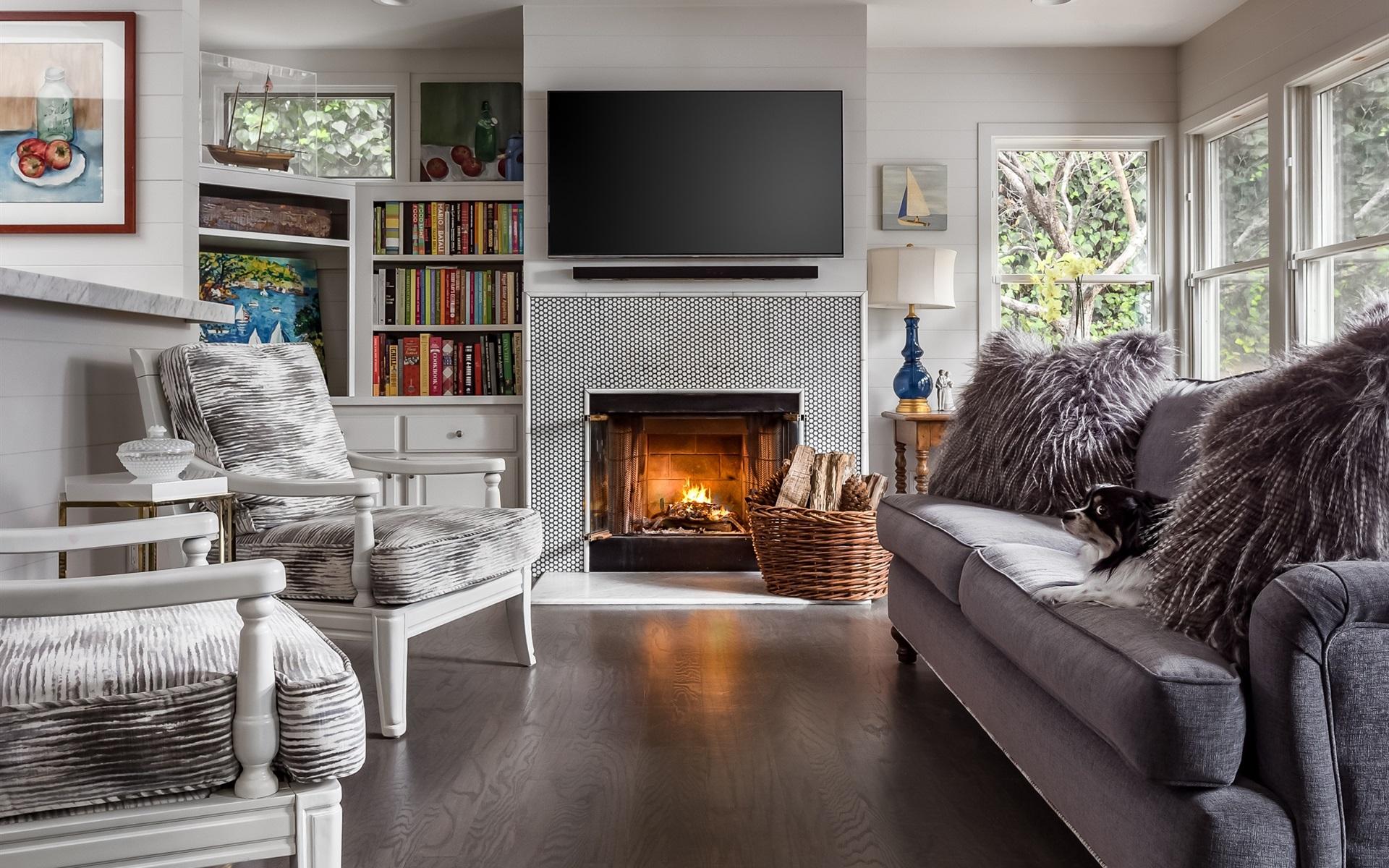 fonds d 39 cran salon chemin e canap chaise livres t l vision 1920x1200 hd image. Black Bedroom Furniture Sets. Home Design Ideas