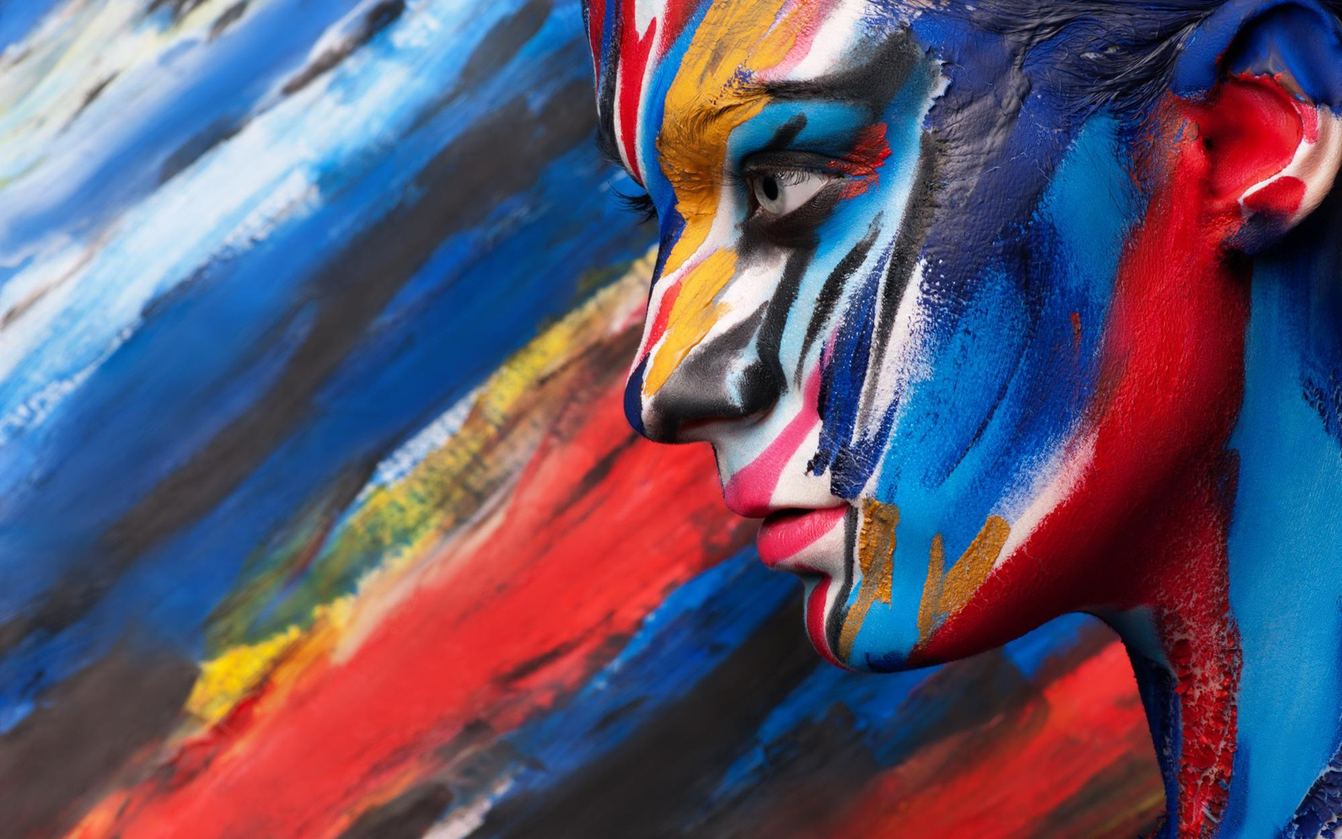 Wallpaper Body Art Paint Colorful Face Side View 1920x1200 Hd Picture Image