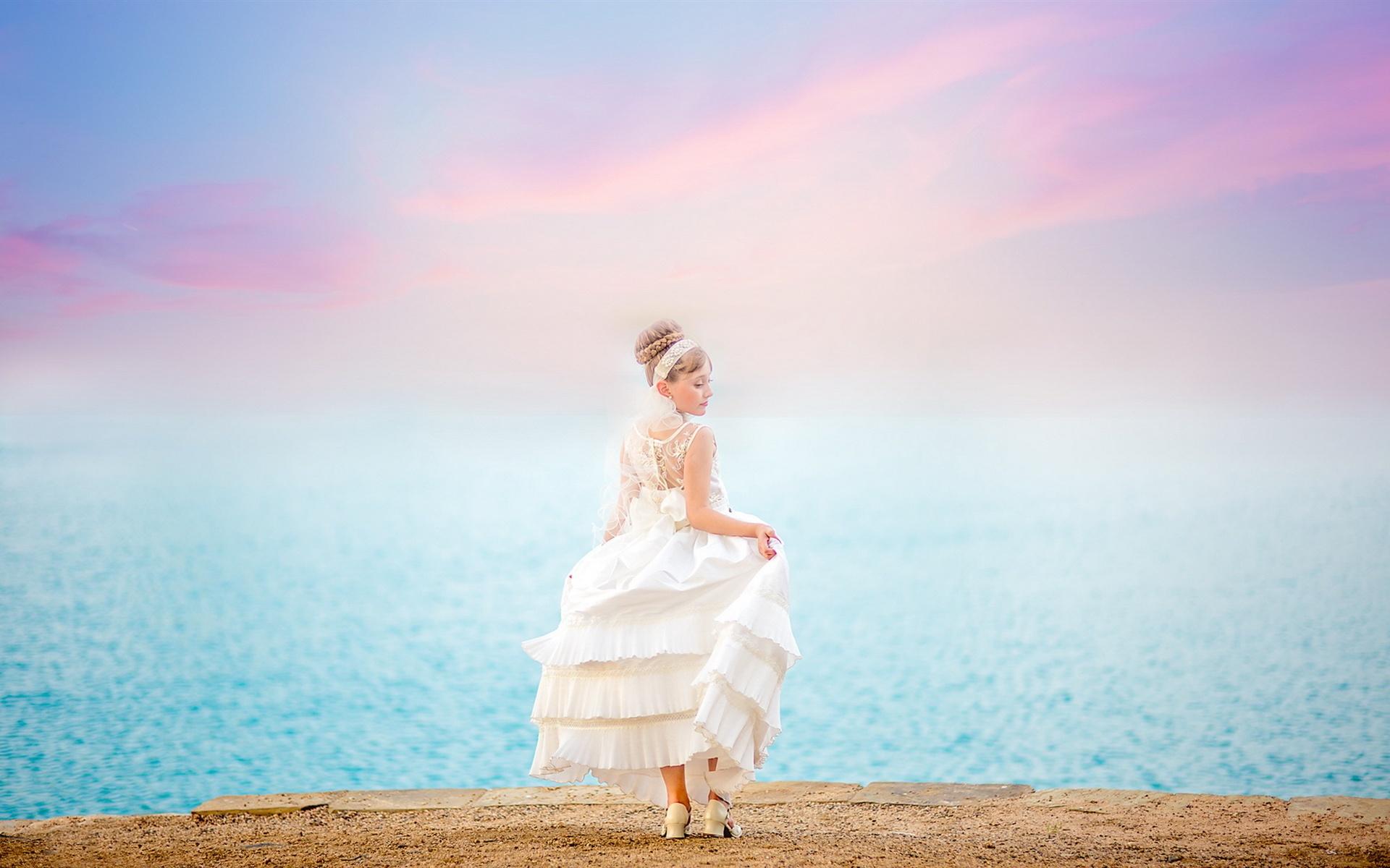 壁紙 花嫁 女の子 白いドレス バックビュー 海 1920x1200 Hd 無料