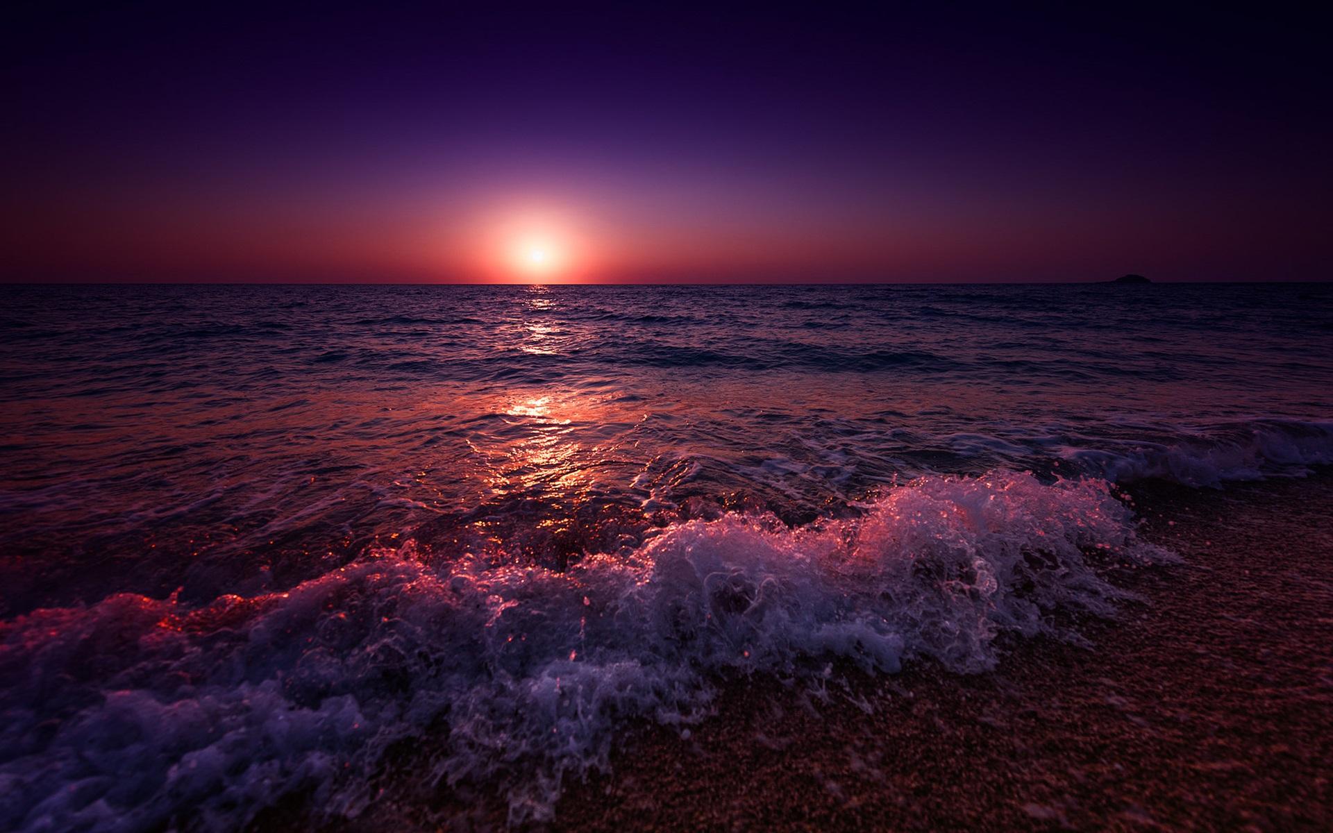 Papéis De Parede Grécia, Mar, Praia, Ondas, Pôr-do-sol