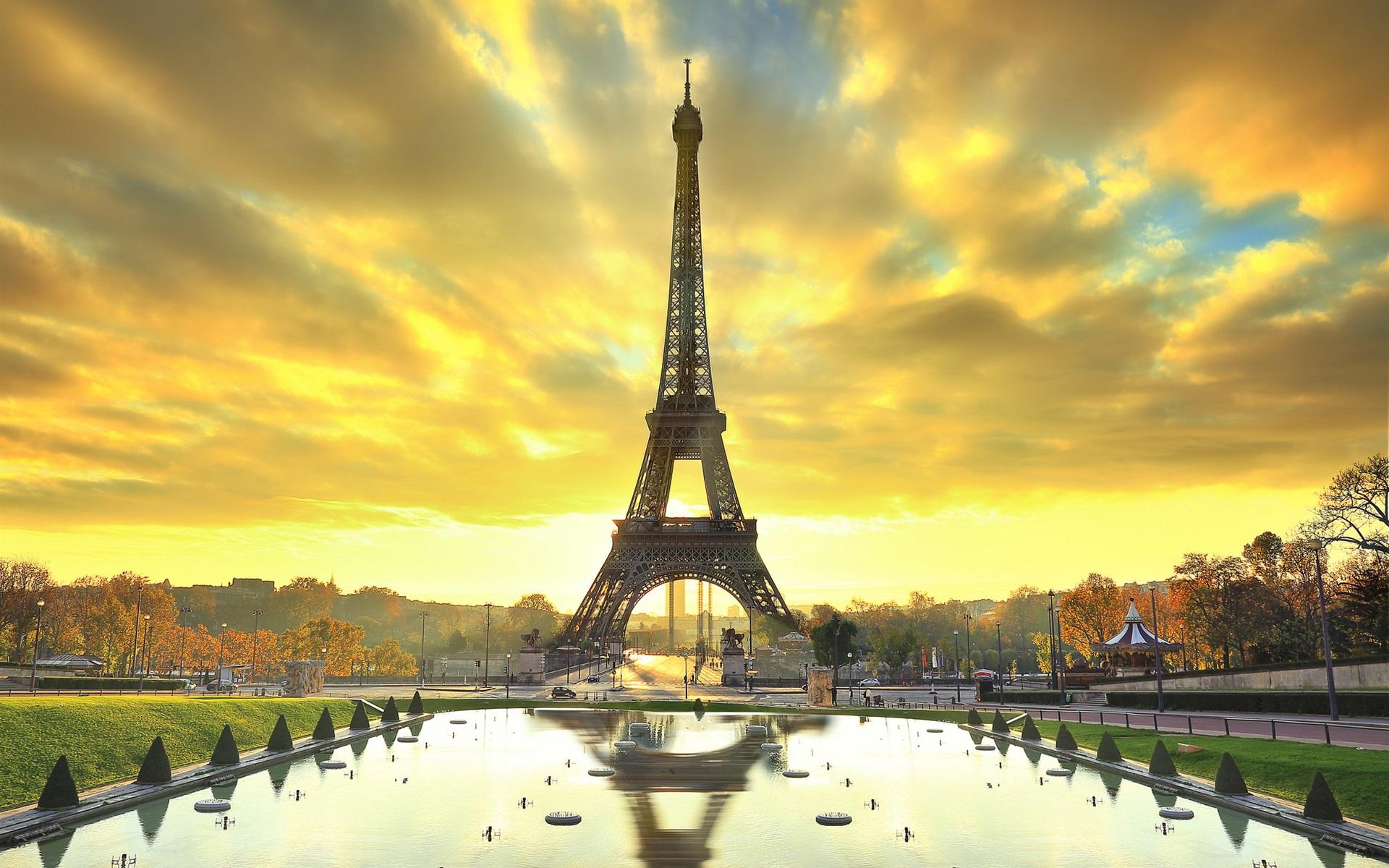 壁紙 パリ エッフェル塔 市 水 秋 日の出 19x10 Hd 無料のデスクトップの背景 画像