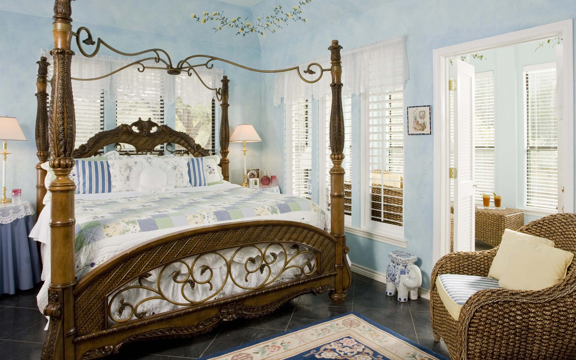 Schlafzimmer, Bett, Stuhl, Fenster 1920x1200 HD