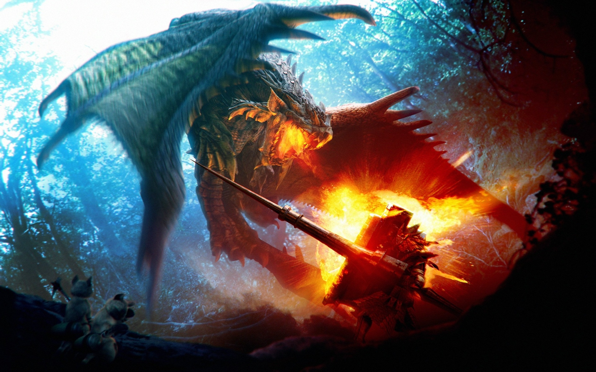 Wallpaper Combat Dragon Fire Art Picture 1920x1200 Hd Picture