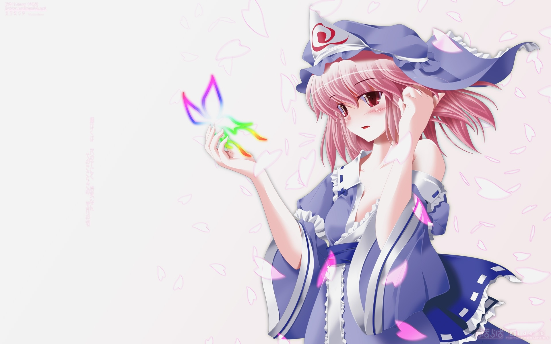 Wallpaper Lovely Pink Hair Anime Girl Butterfly 1920x1200 HD