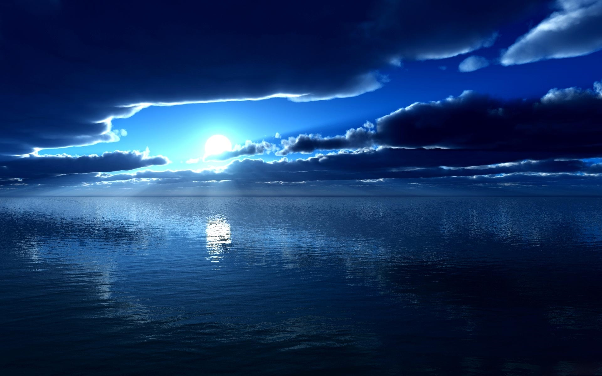 wallpaper sea, moon, blue, night, clouds 1920x1200 hd picture, image