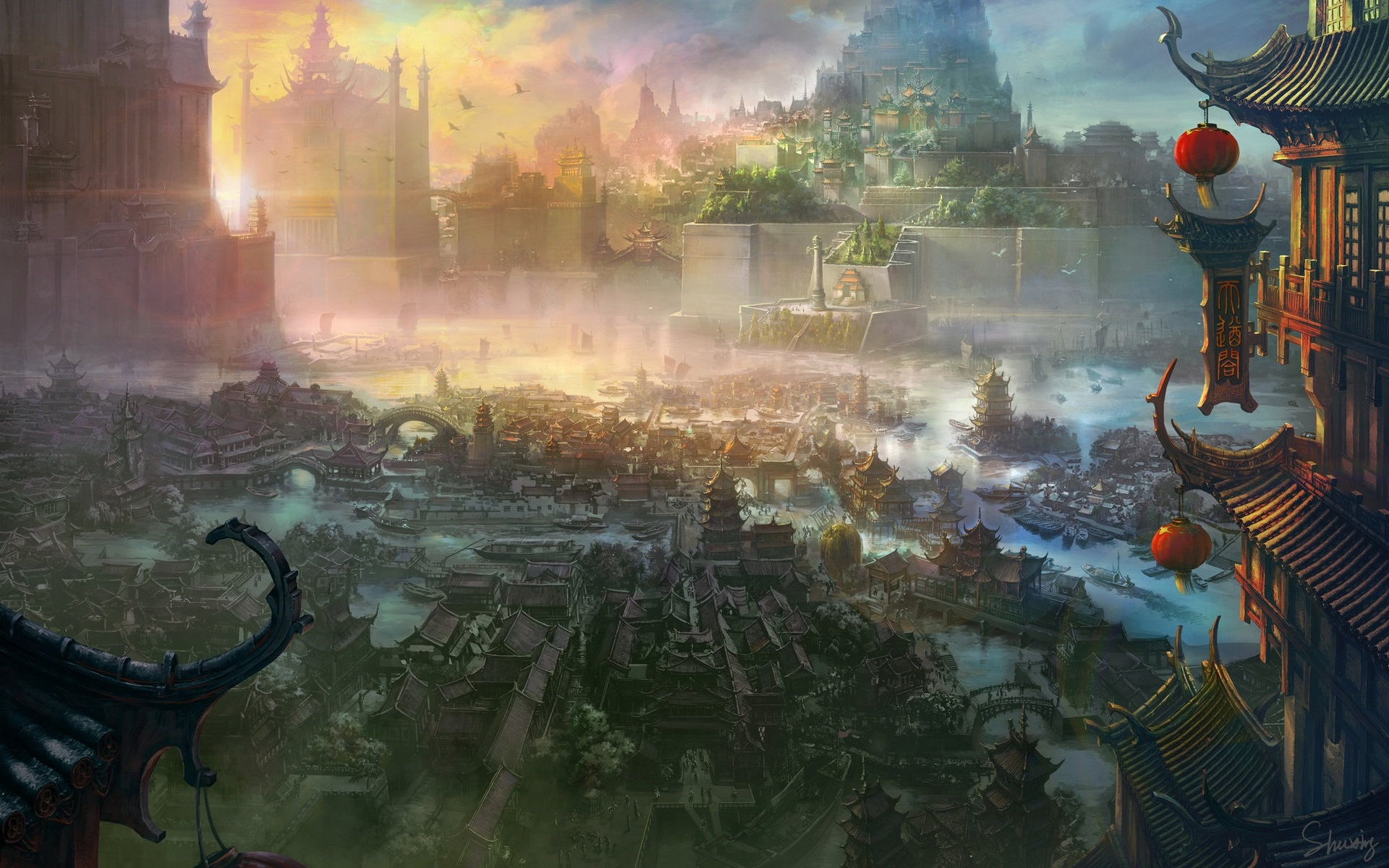 wallpaper ancient chinese city art painting 1920x1200 hd