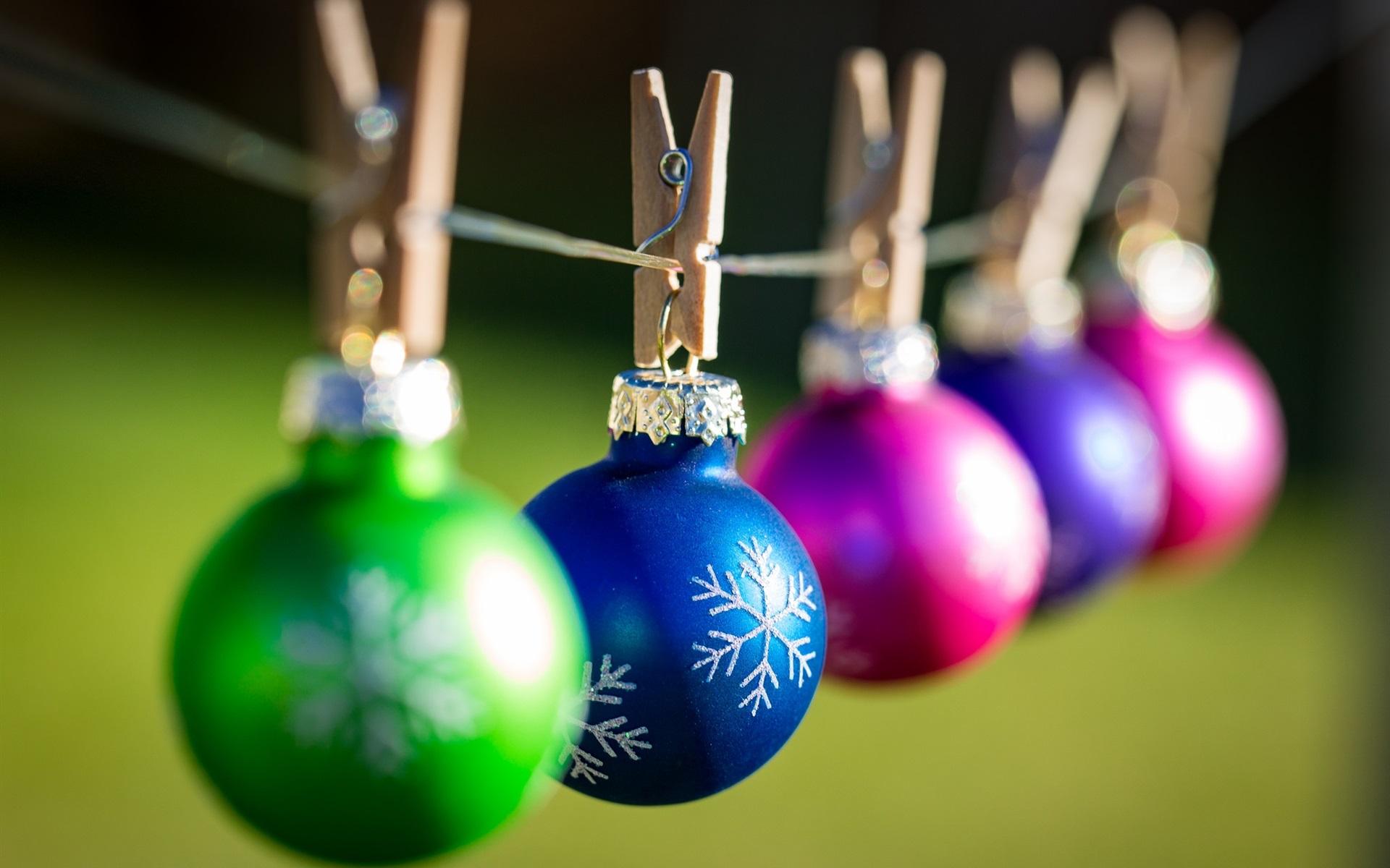 Wallpaper Colorful Christmas Balls Clothespins Bokeh