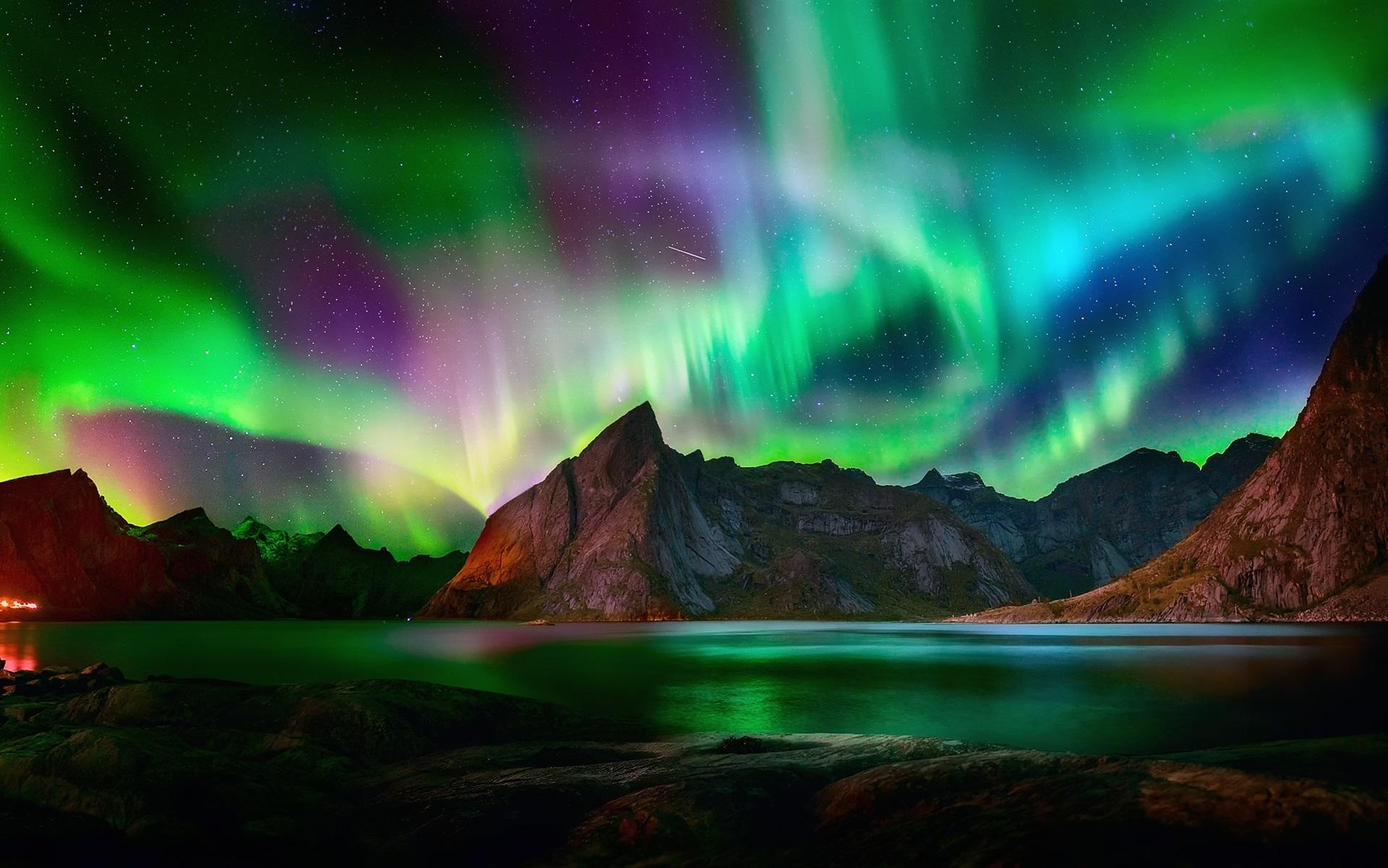 Wallpaper Northern lights, beautiful night, mountains ...