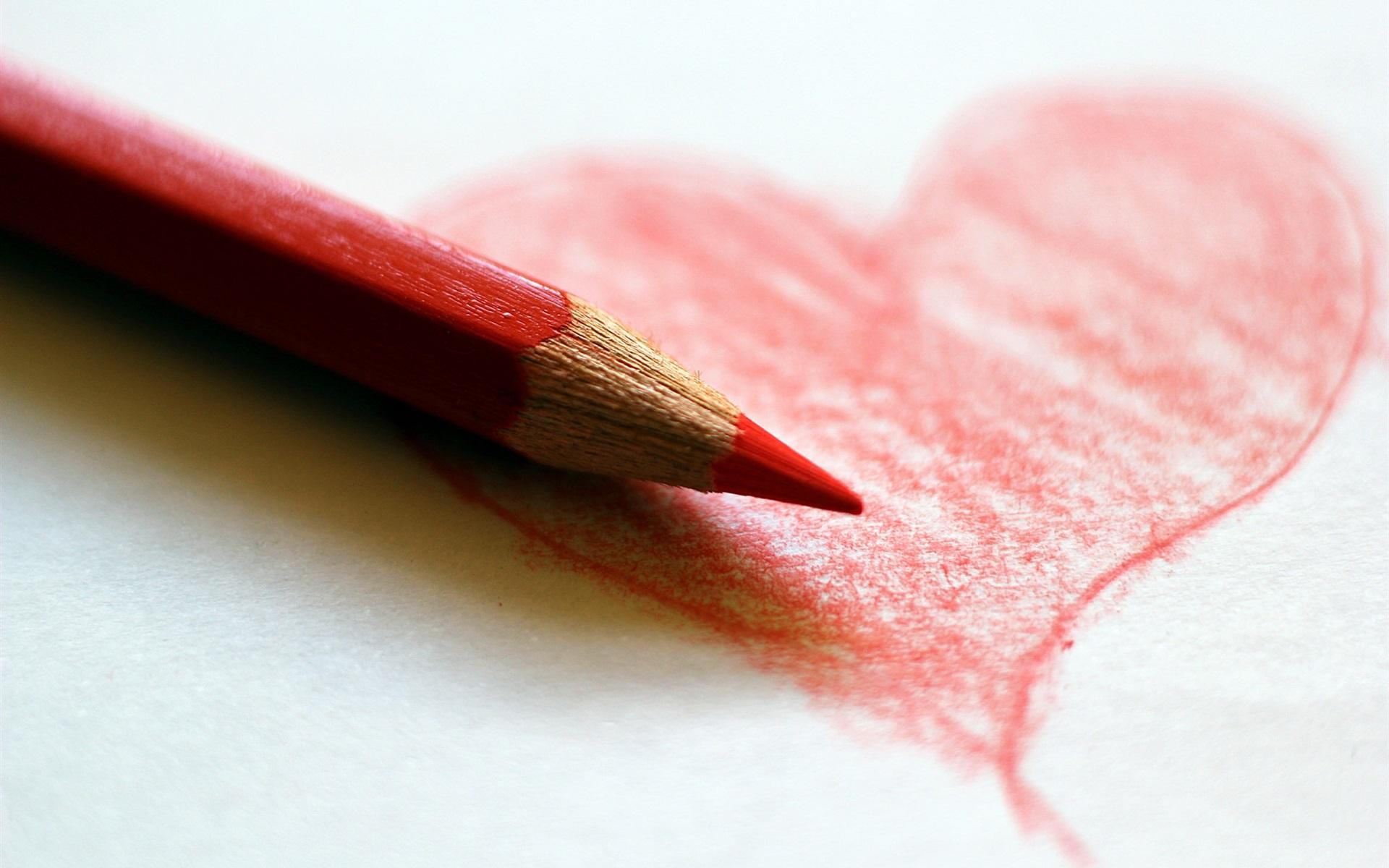 Fonds D écran Coeur D Amour Rouge Dessin Crayon De Couleur