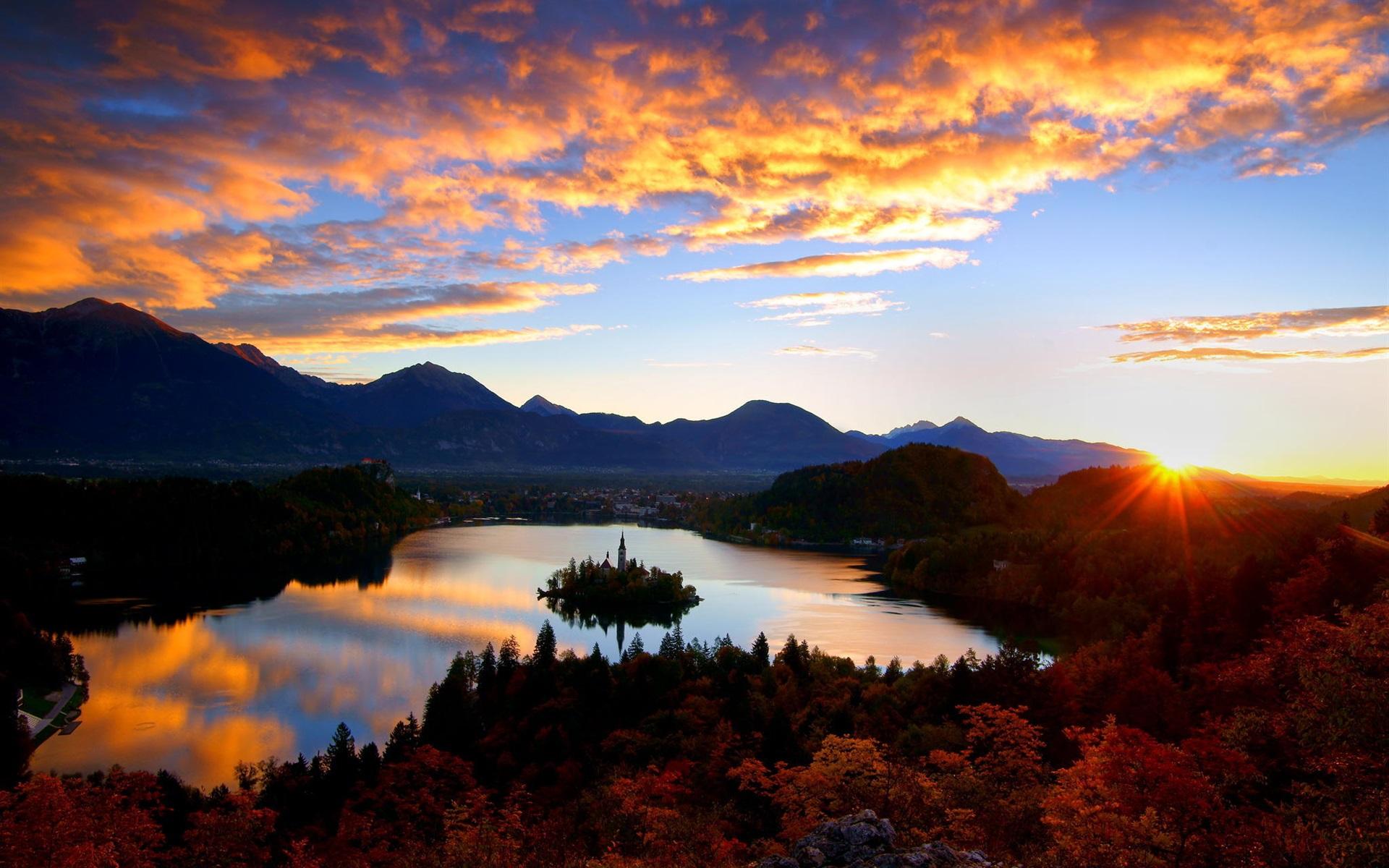 Wallpaper Croatia Lake Island Church Castle Dawn Clouds