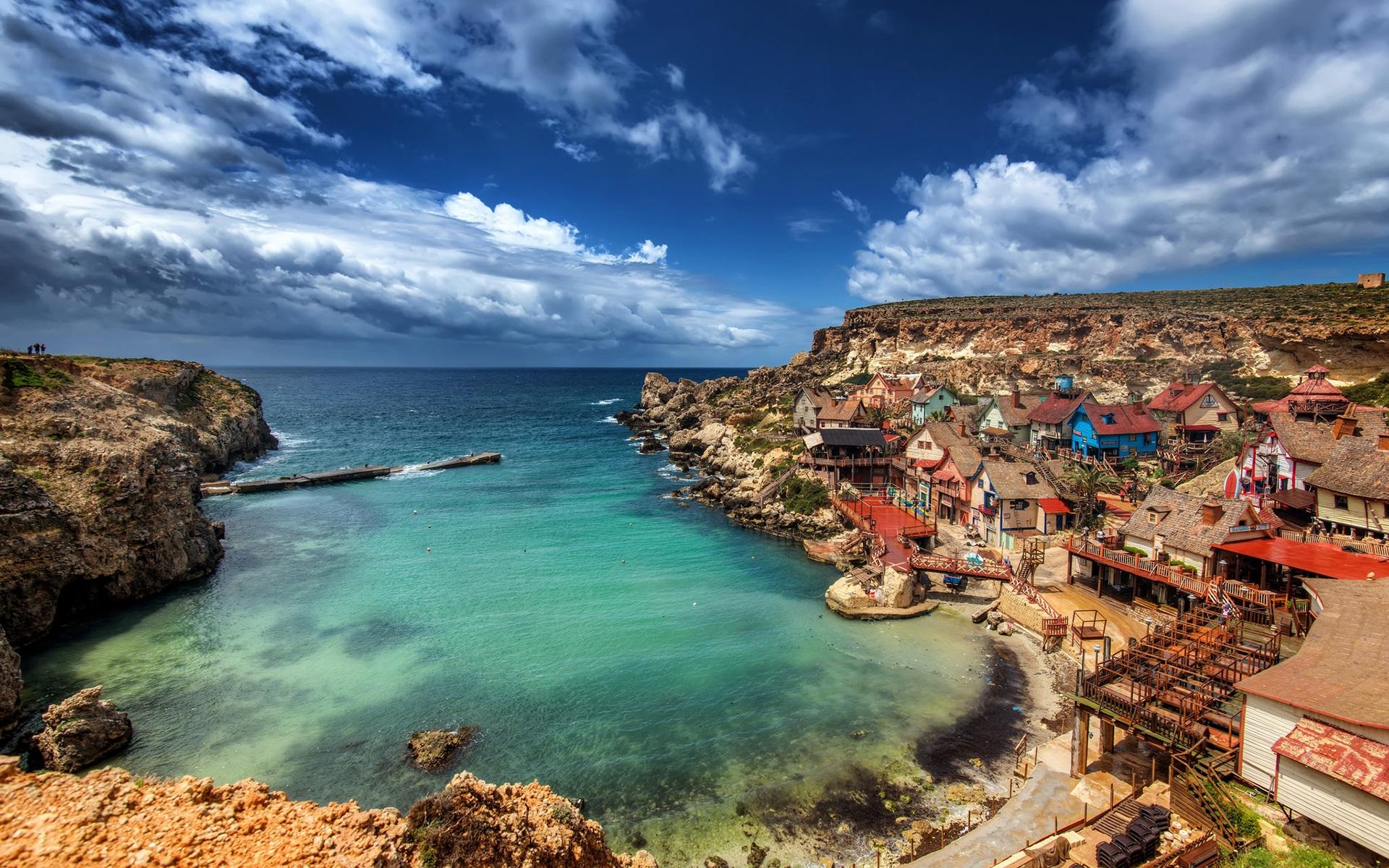 Wallpaper Malta, Popeye Village, mediterranean, sea, coast ...