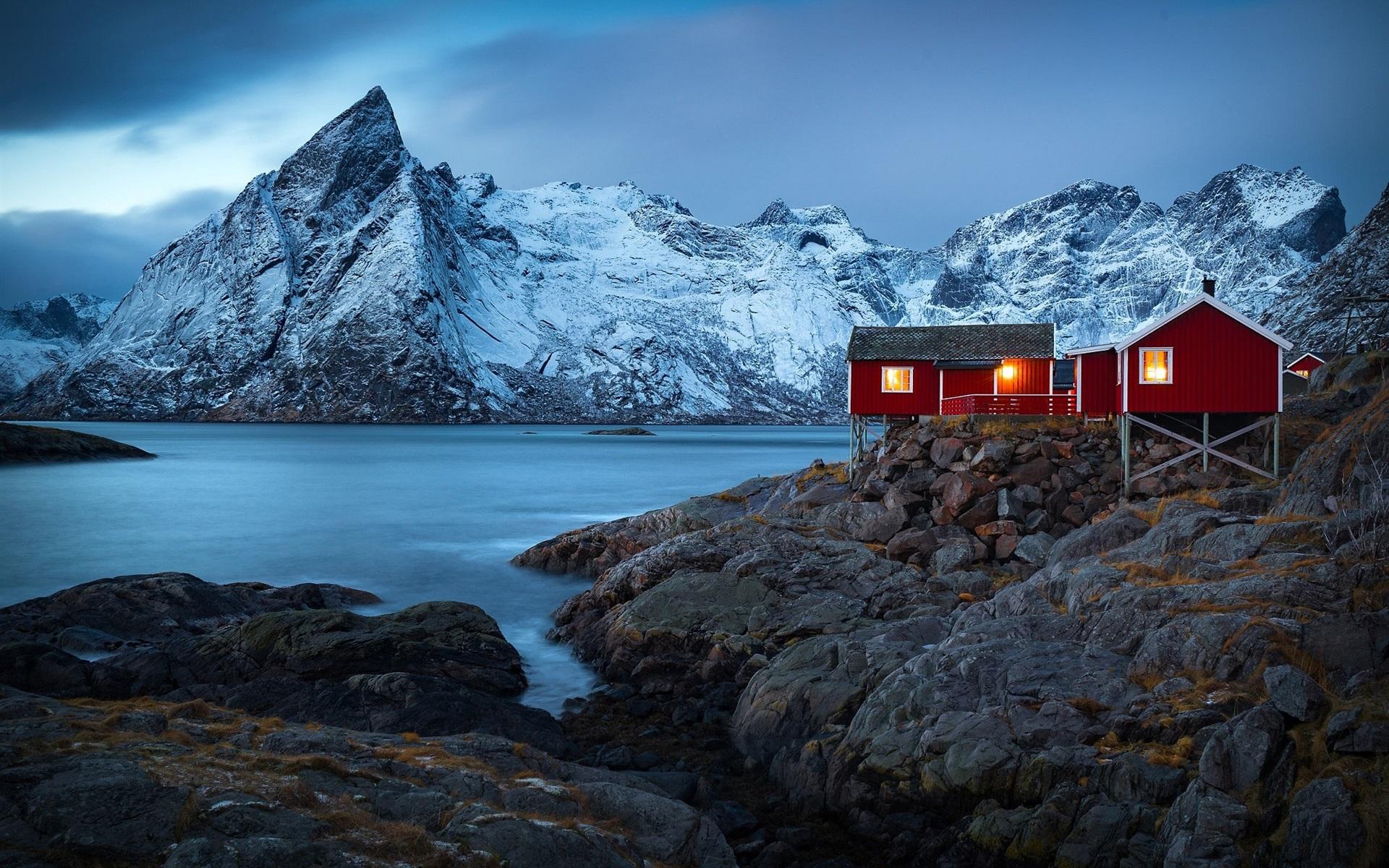 norwegen dorf h user fjord berge winter schnee lichter 1920x1200 hd hintergrundbilder hd. Black Bedroom Furniture Sets. Home Design Ideas