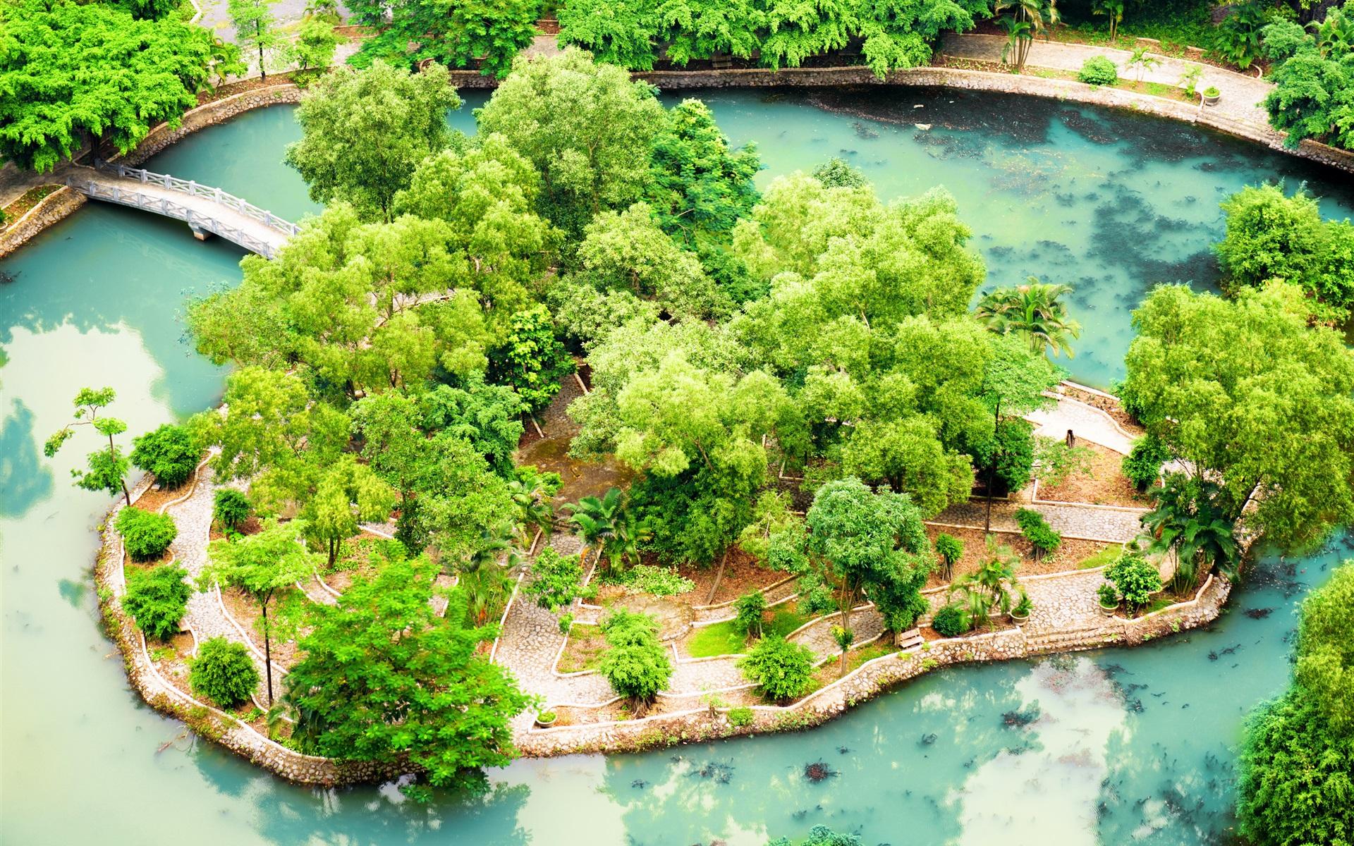 Vietnam ninh binh tropical garden pond bushes for Garden pool hanoi