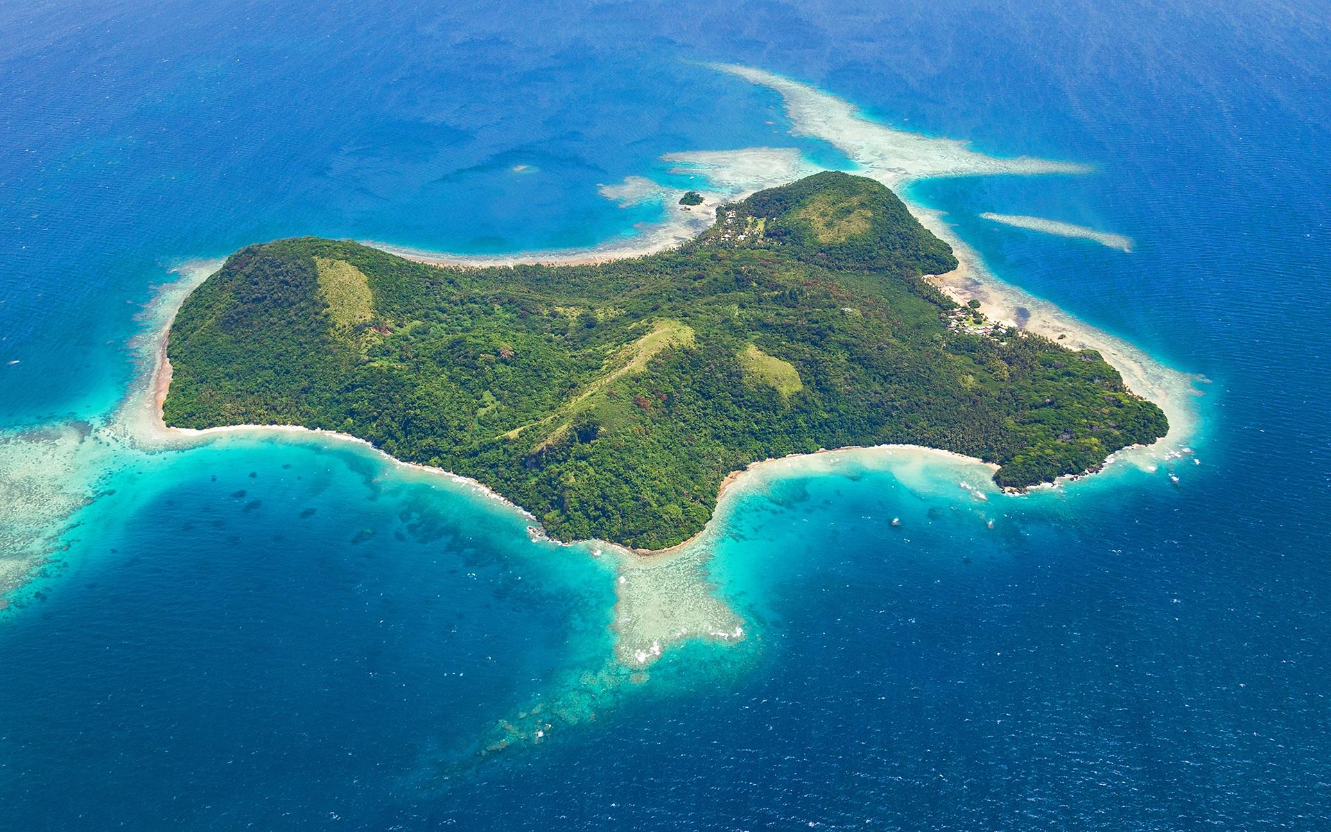 Wallpaper Wakaya Island Fiji Sea Top View 1920x1200 HD Picture Image