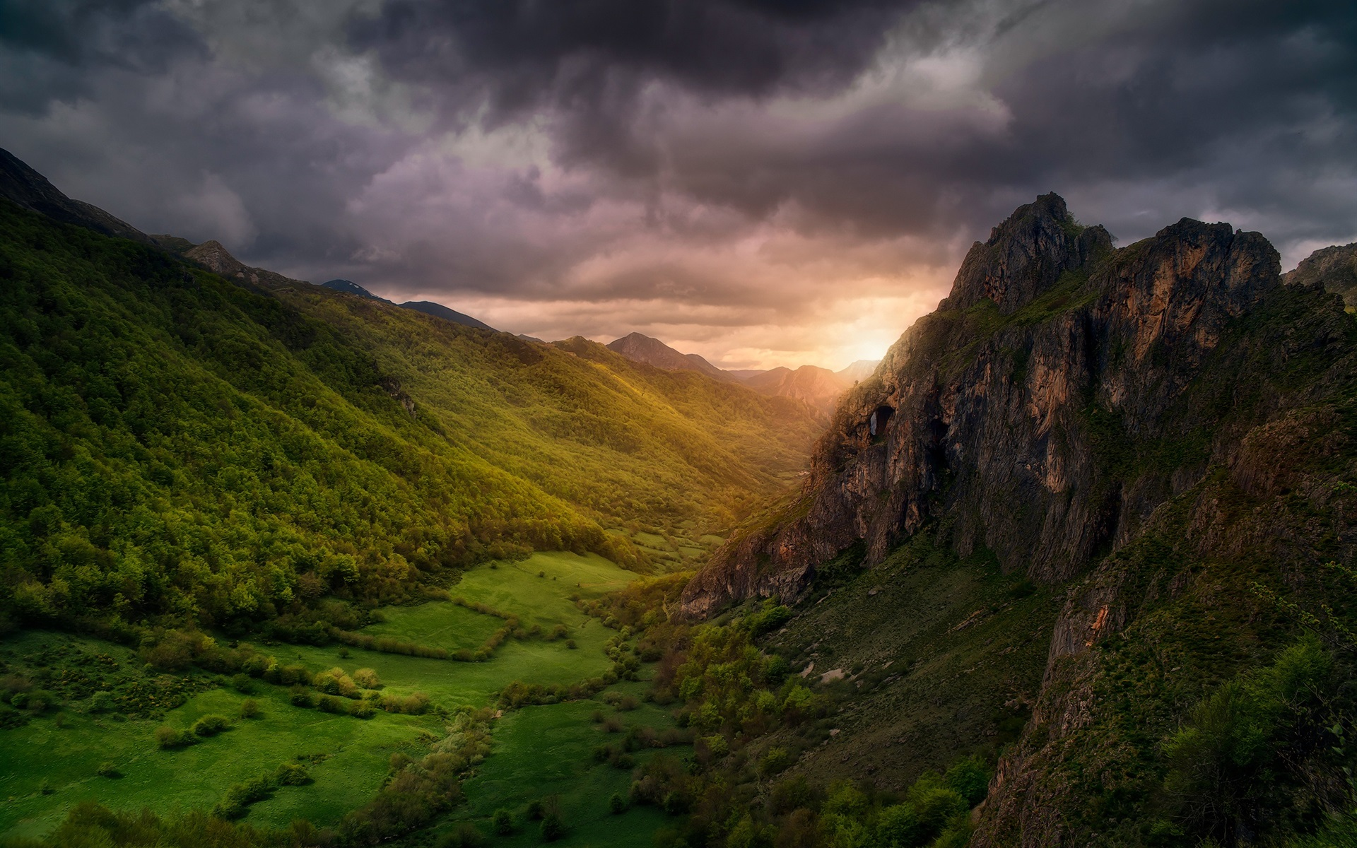 Wallpaper Beautiful Nature Landscape Clouds Valley Mountains