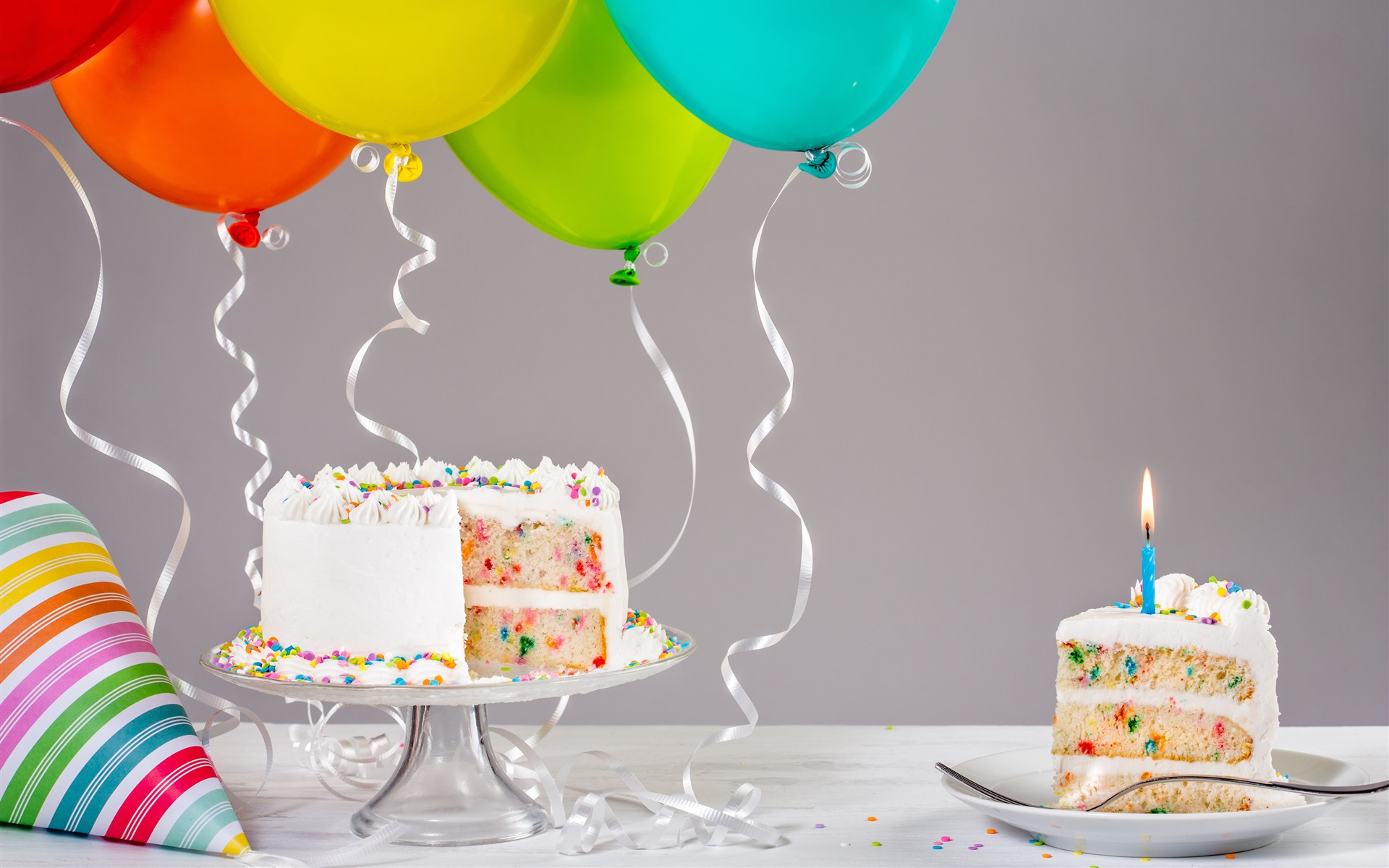 Download Wallpaper Birthday cake candle balloons ribbon
