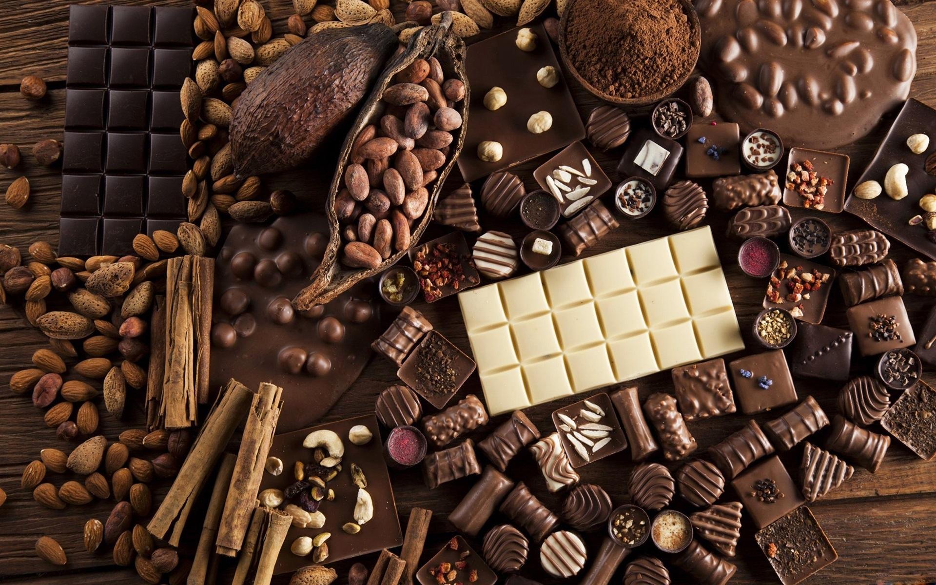 Fondos De Pantalla De Chocolates: Fondos De Pantalla Caramelos De Chocolate, Nueces, Dulces