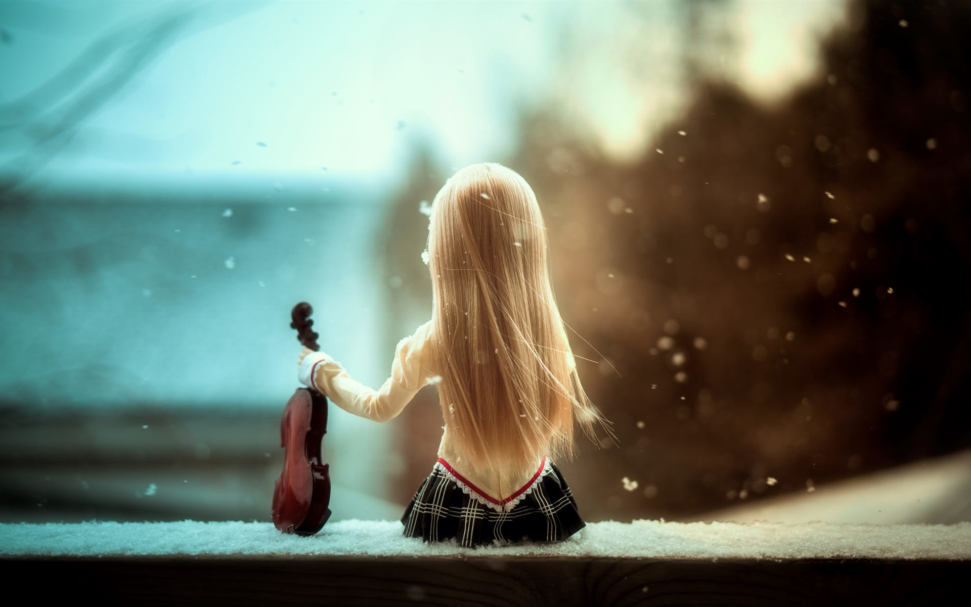Wallpaper Doll Girl Back View Violin Snow 1920x1200 Hd Picture Image
