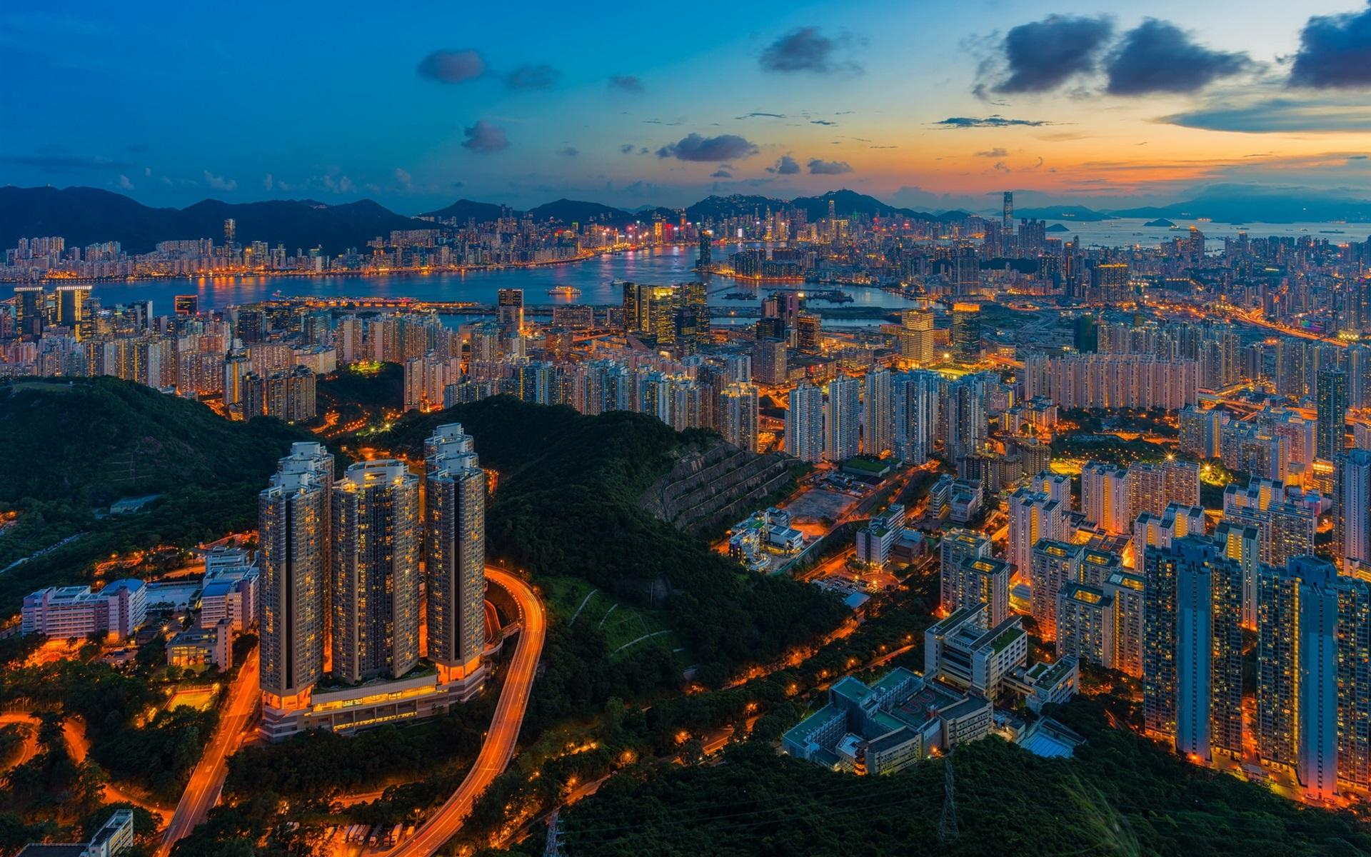 Wallpaper Hong Kong Skyscrapers Lights City Night Top View