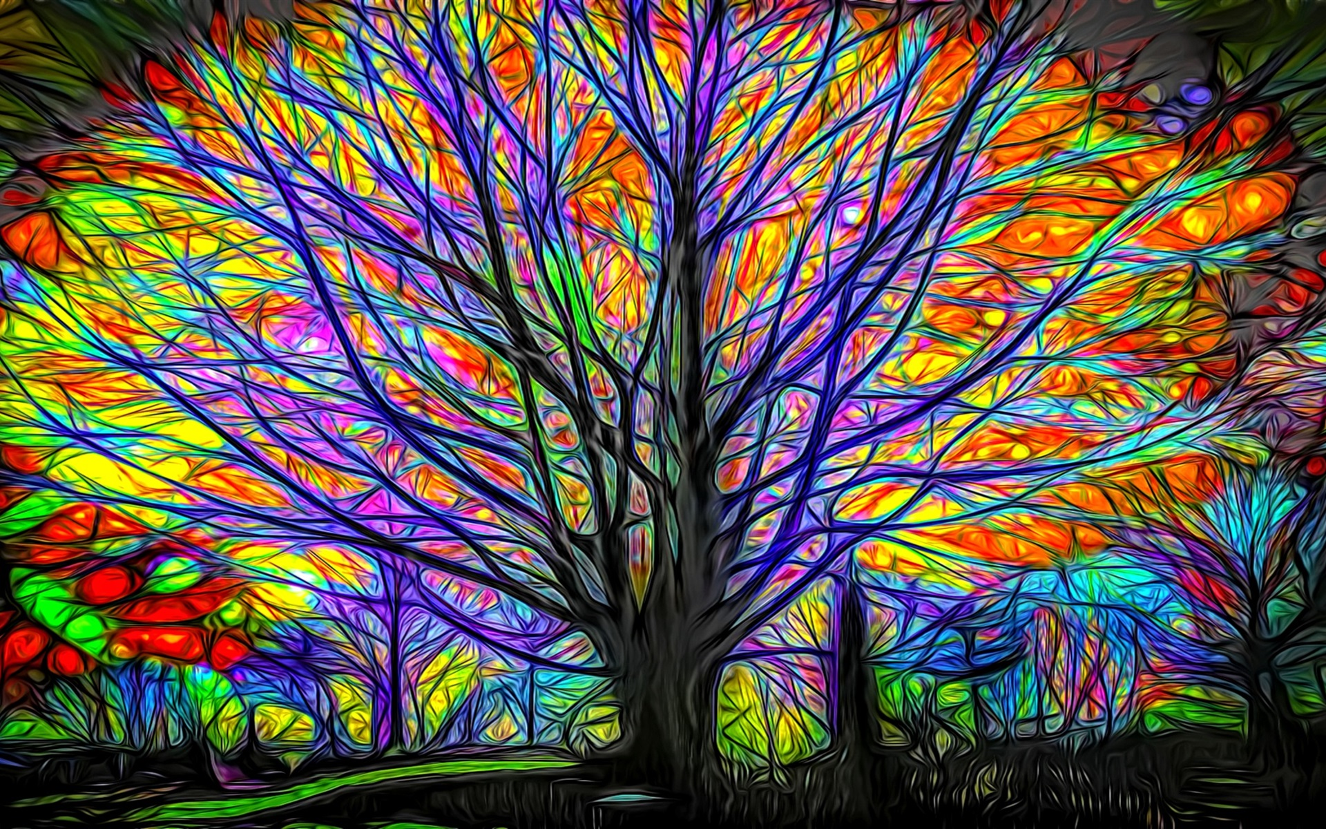 Wallpaper Abstract Tree Colorful Lines Glow 1920x1200 HD Picture