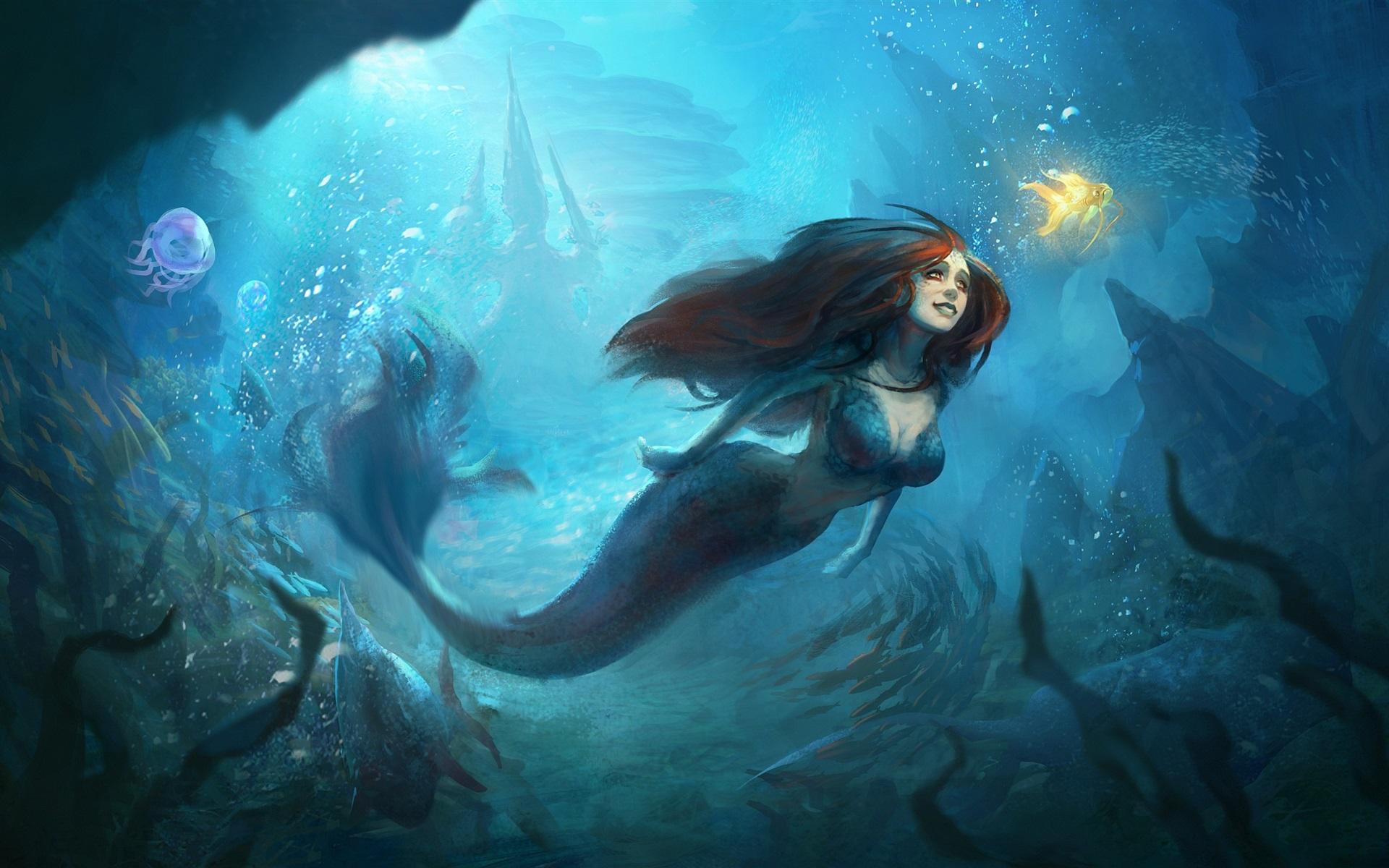 wallpaper beautiful mermaid underwater goldfish art