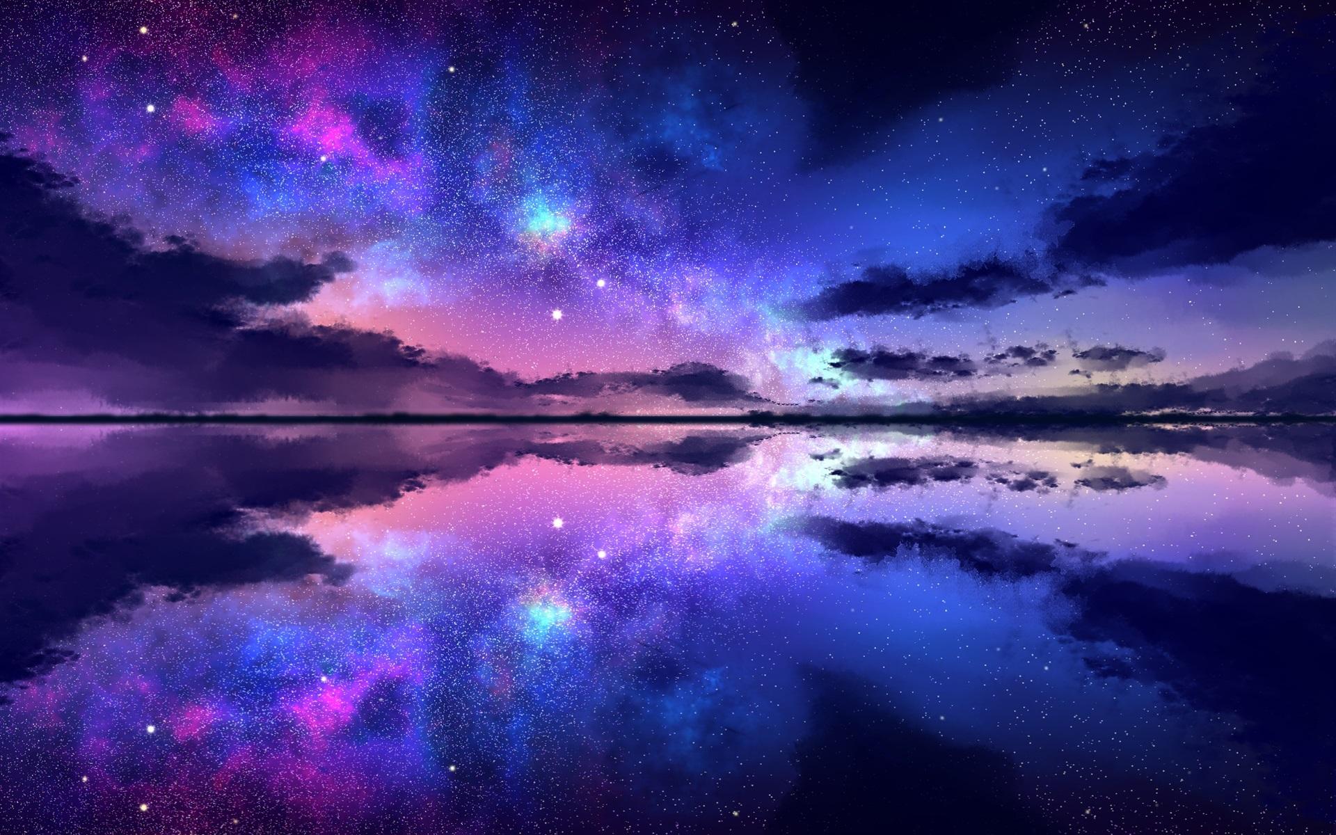 壁紙 美しい夜の自然の風景 星空 星 海 1920x1200 Hd 無料の