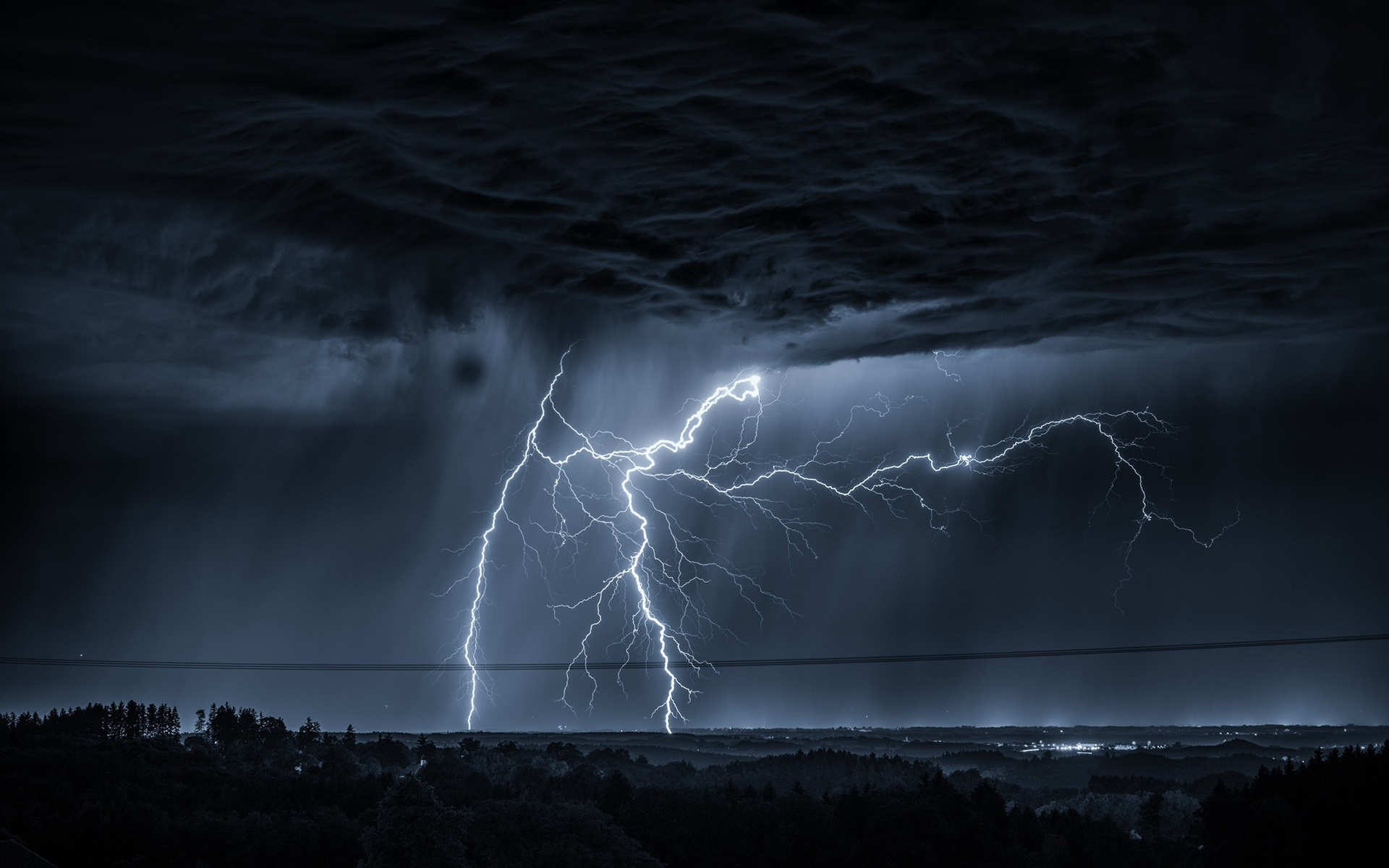 Wallpaper Lightning, dark clouds, night 1920x1200 HD ...