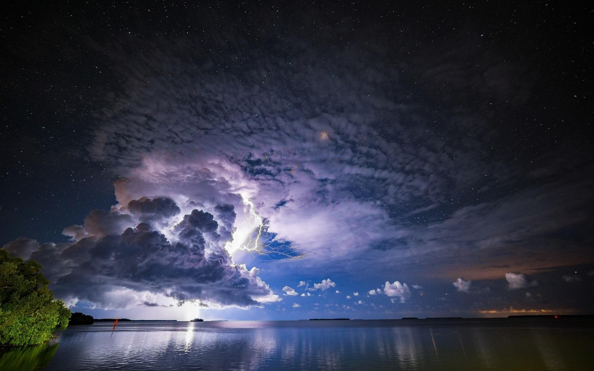 Fondos De Pantalla Tormenta, Nubes, Rayos, Mar, Atardecer