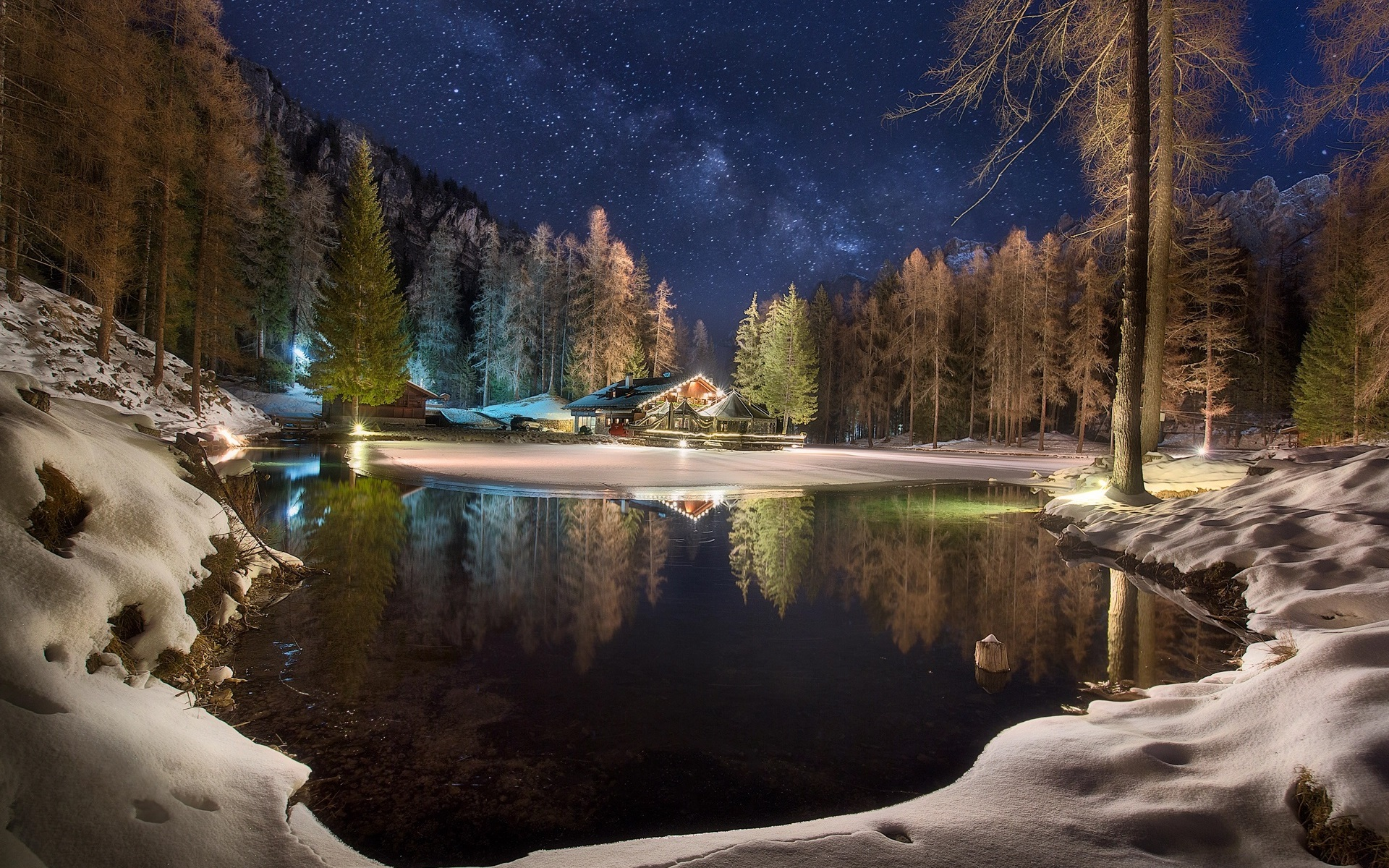 Wallpaper Winter Lake House Trees Forest Snow Night