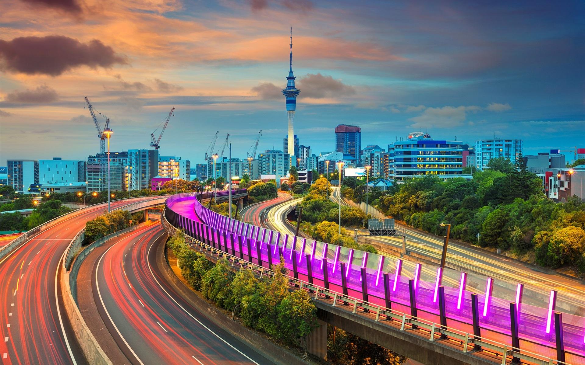 Pelaku Penembakan New Zealand Wallpaper: Fonds D'écran Auckland, Nouvelle-Zélande, Routes, Lumières