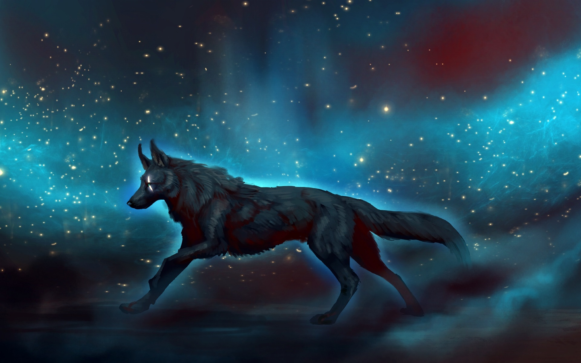 Wallpaper Black Wolf Walk At Night Starry Art Picture 1920x1200