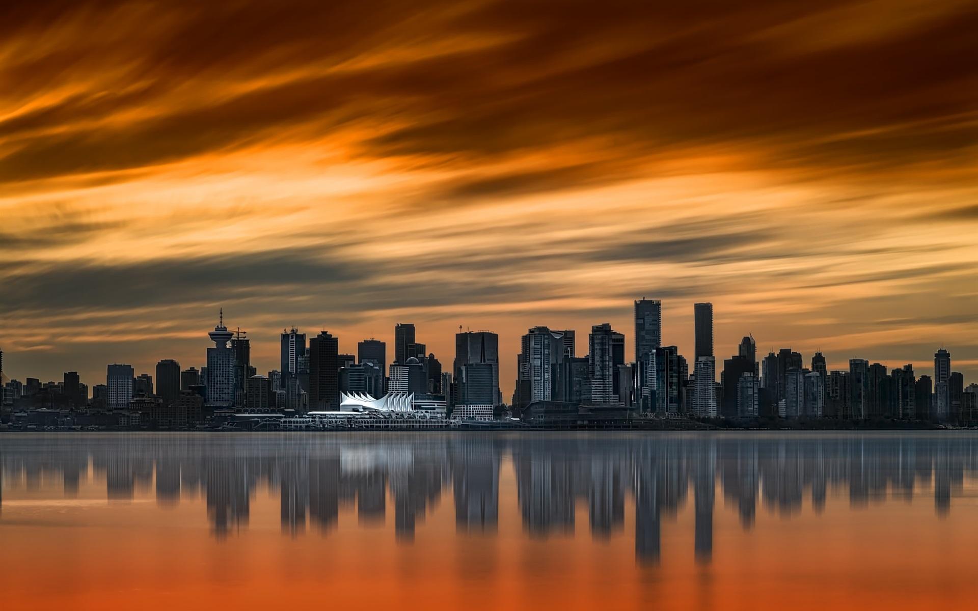картинки города на закате дня