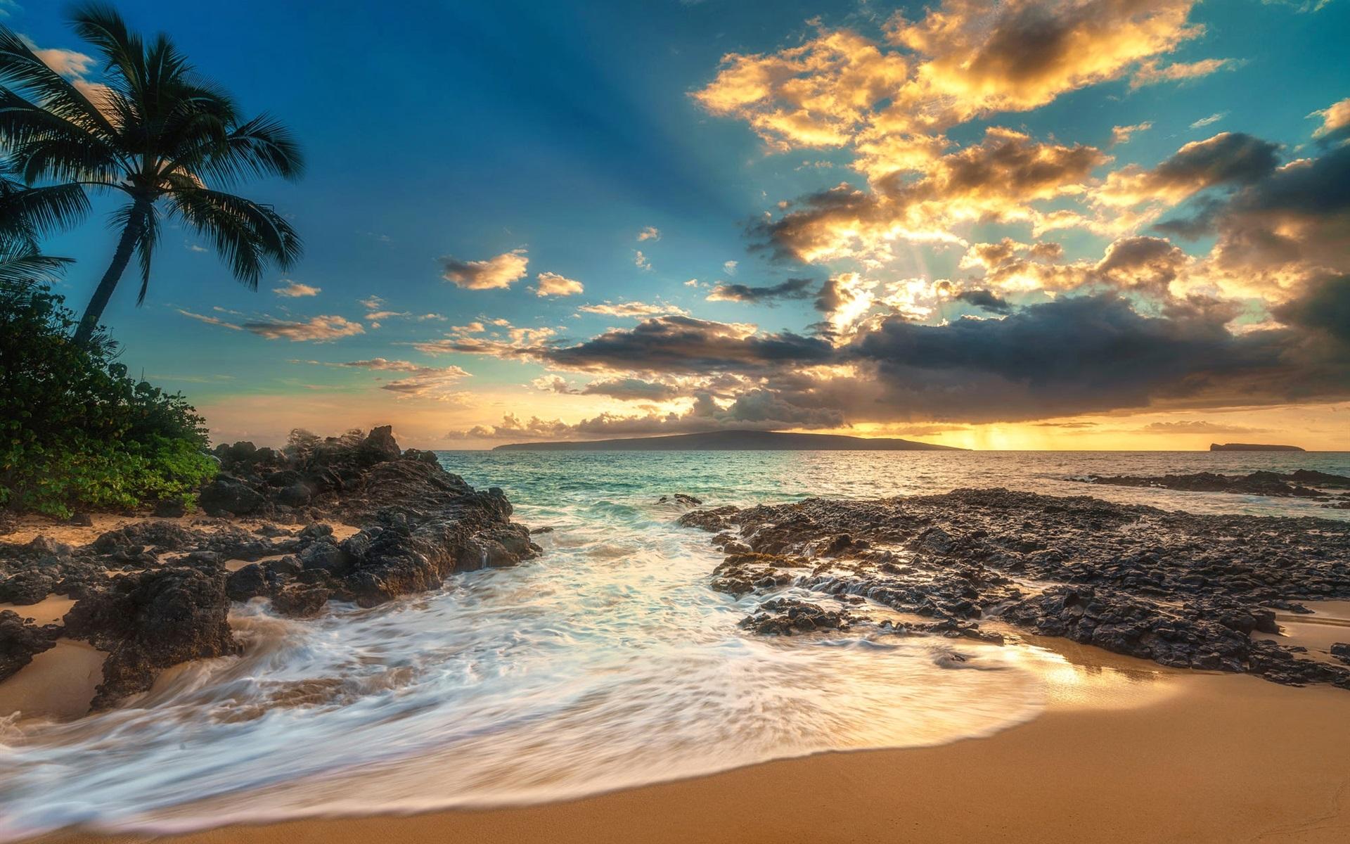 Fonds d'écran Palmiers, mer, nuages, plage, coucher de soleil 1920x1200 HD image