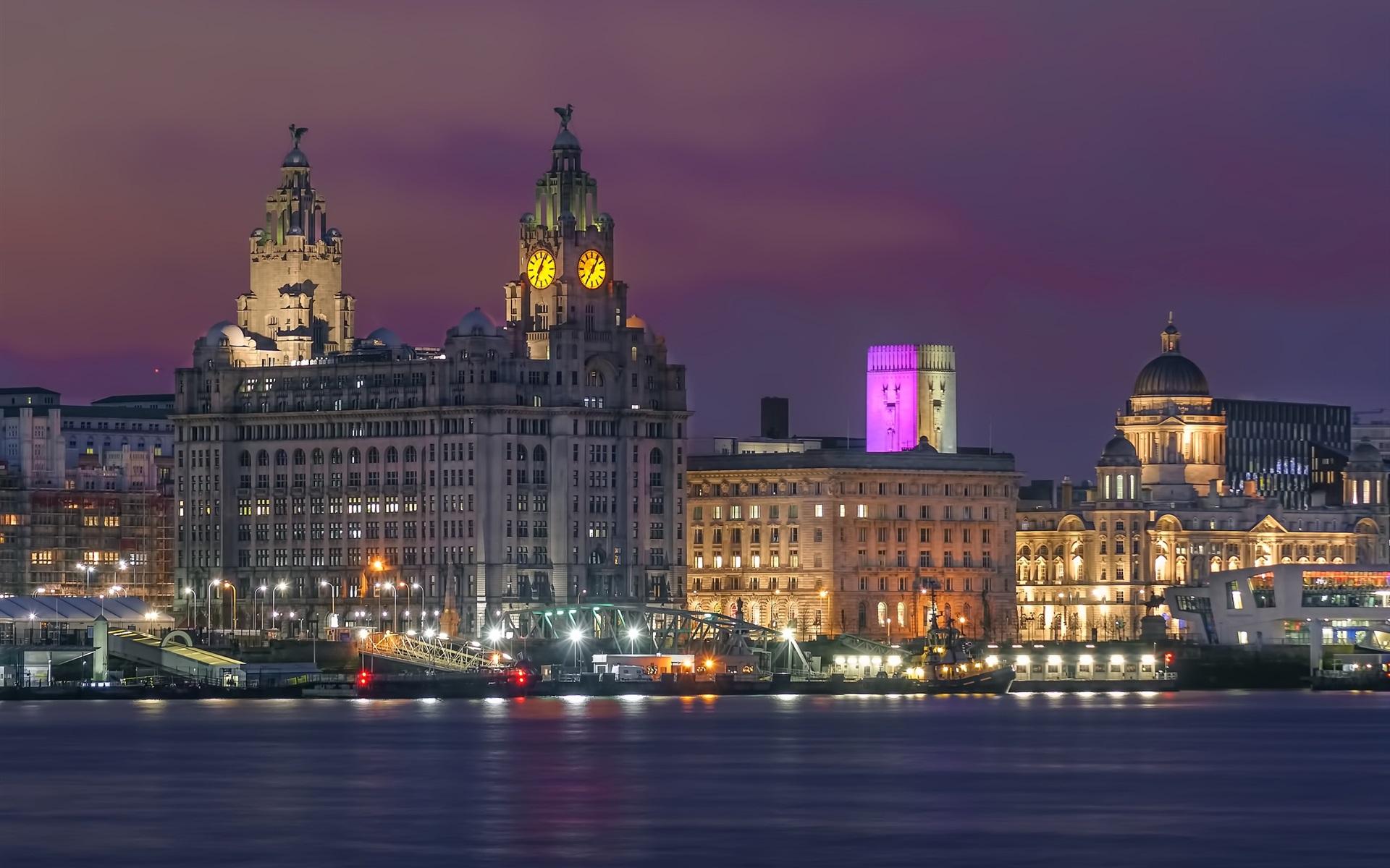 Papeis De Parede Liverpool Inglaterra Cais Rio Luzes Cidade Noturna 1920x1440 Hd Imagem