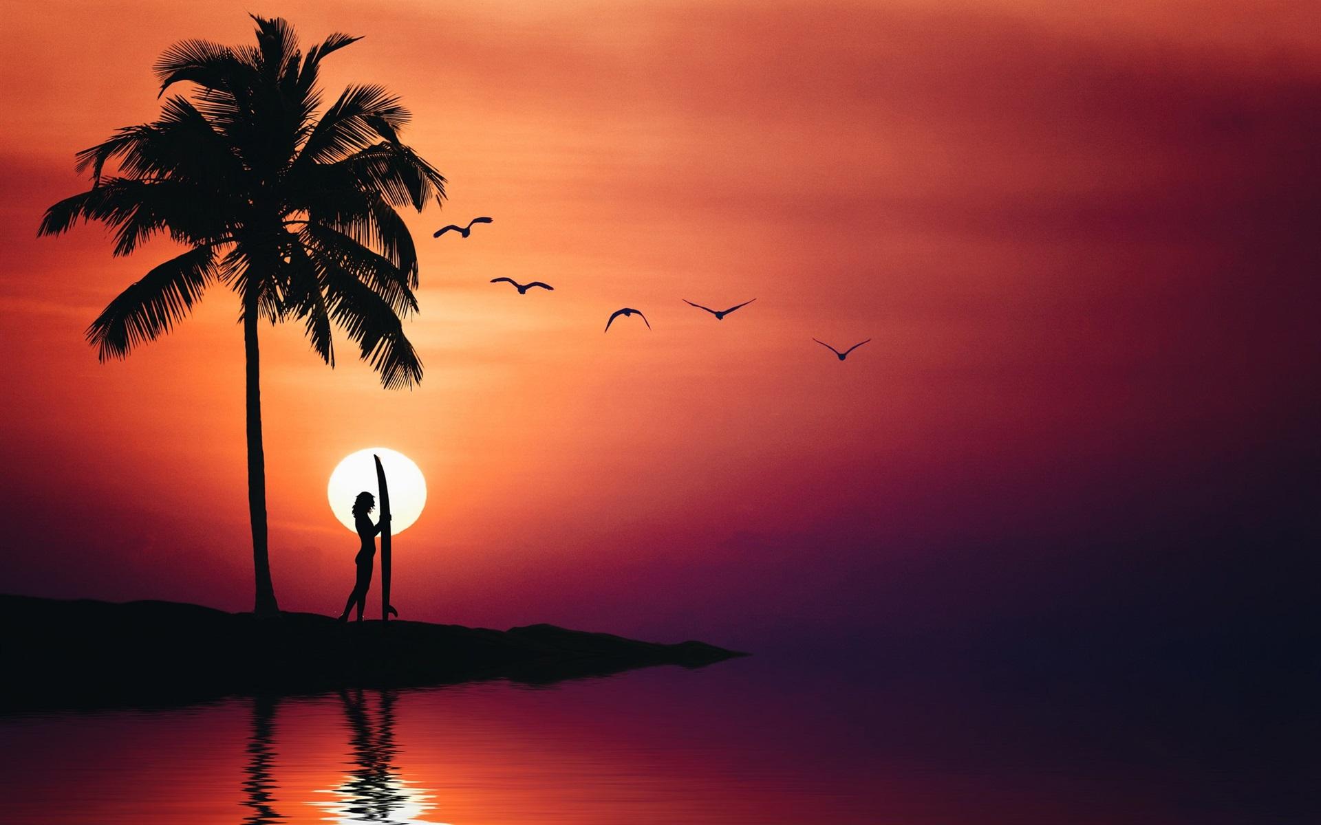 749173f339 Fondos de pantalla Palmeras, niña, mar, silueta, verano, puesta de ...