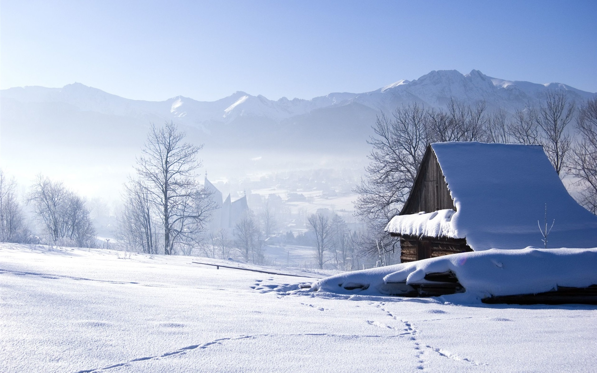light on iphone wallpaper winter snow house trees fog morning 12580