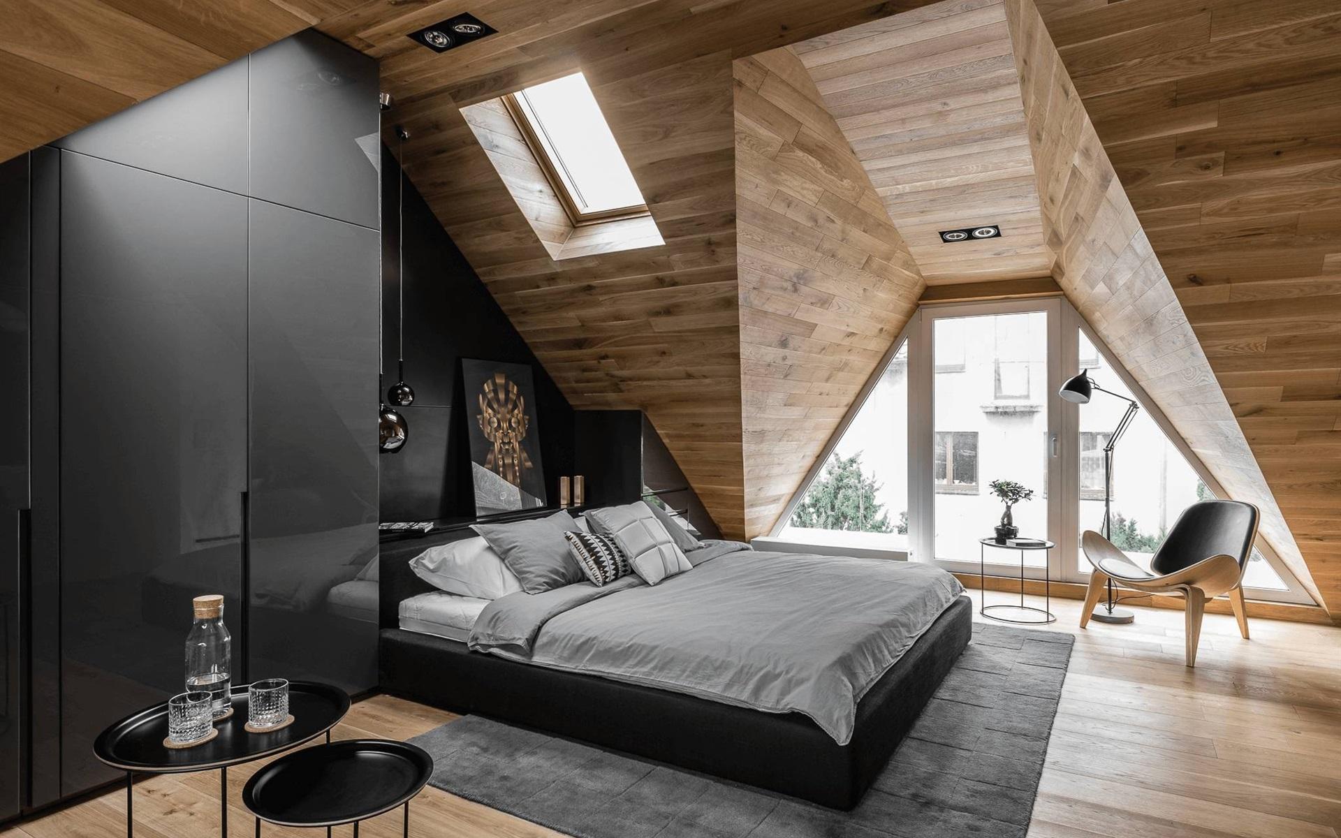 壁紙 屋根裏部屋の寝室 椅子 ベッド 窓 1920x1200 Hd 無料の